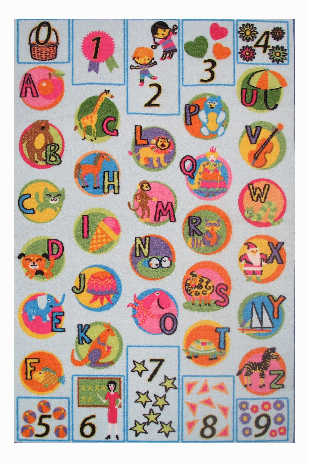 Fun Time Now I Know My ABC's Kids Rug Rug Size: 6'8