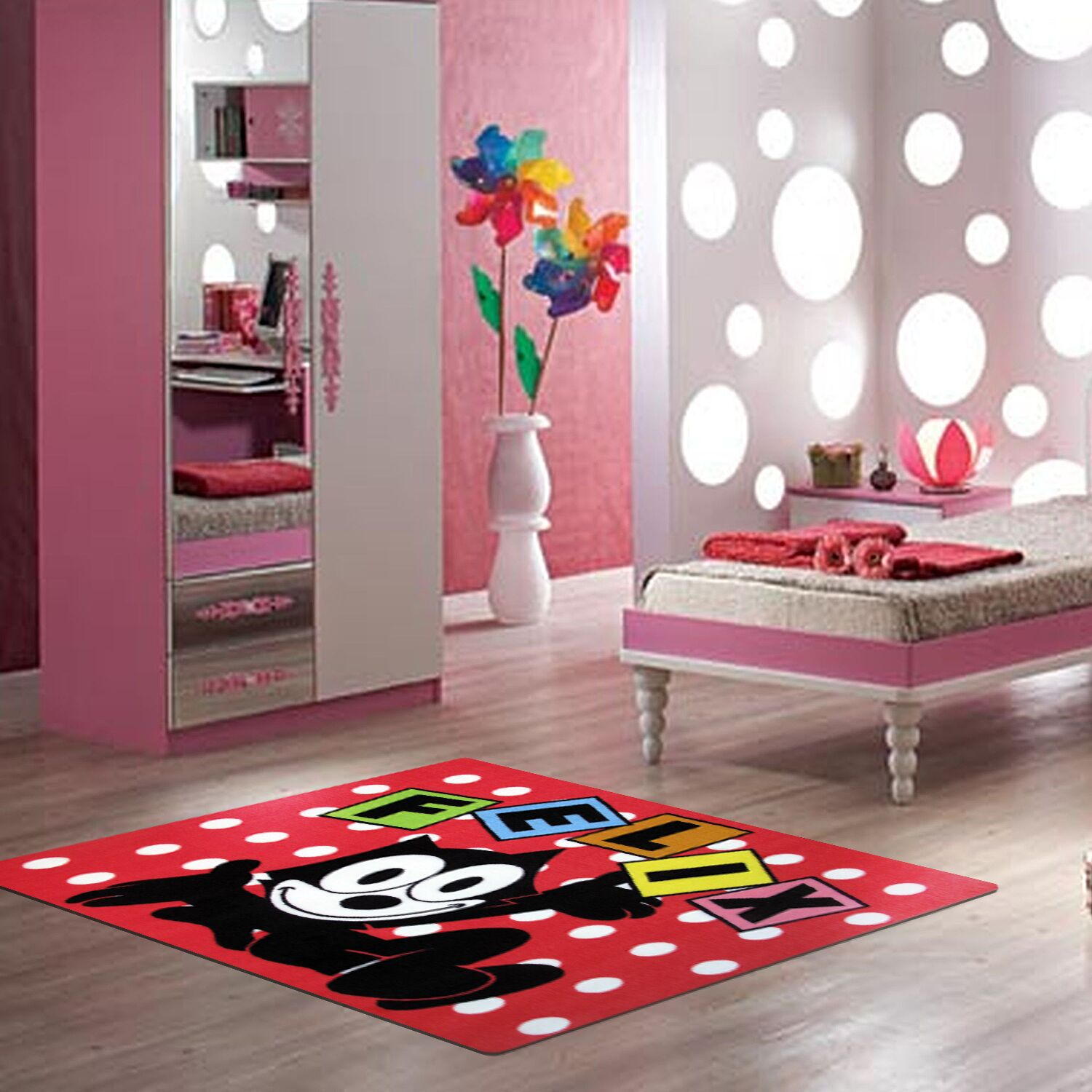 Felix Dots Red Area Rug Rug Size: 3'3