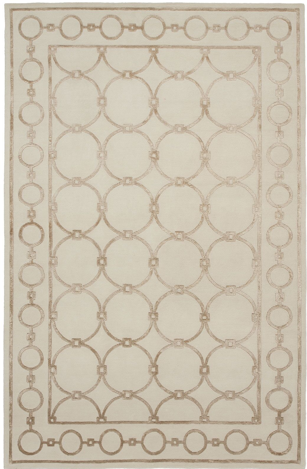 Broadway Hand-Knotted Beige Area Rug Rug Size: 9' x 12'