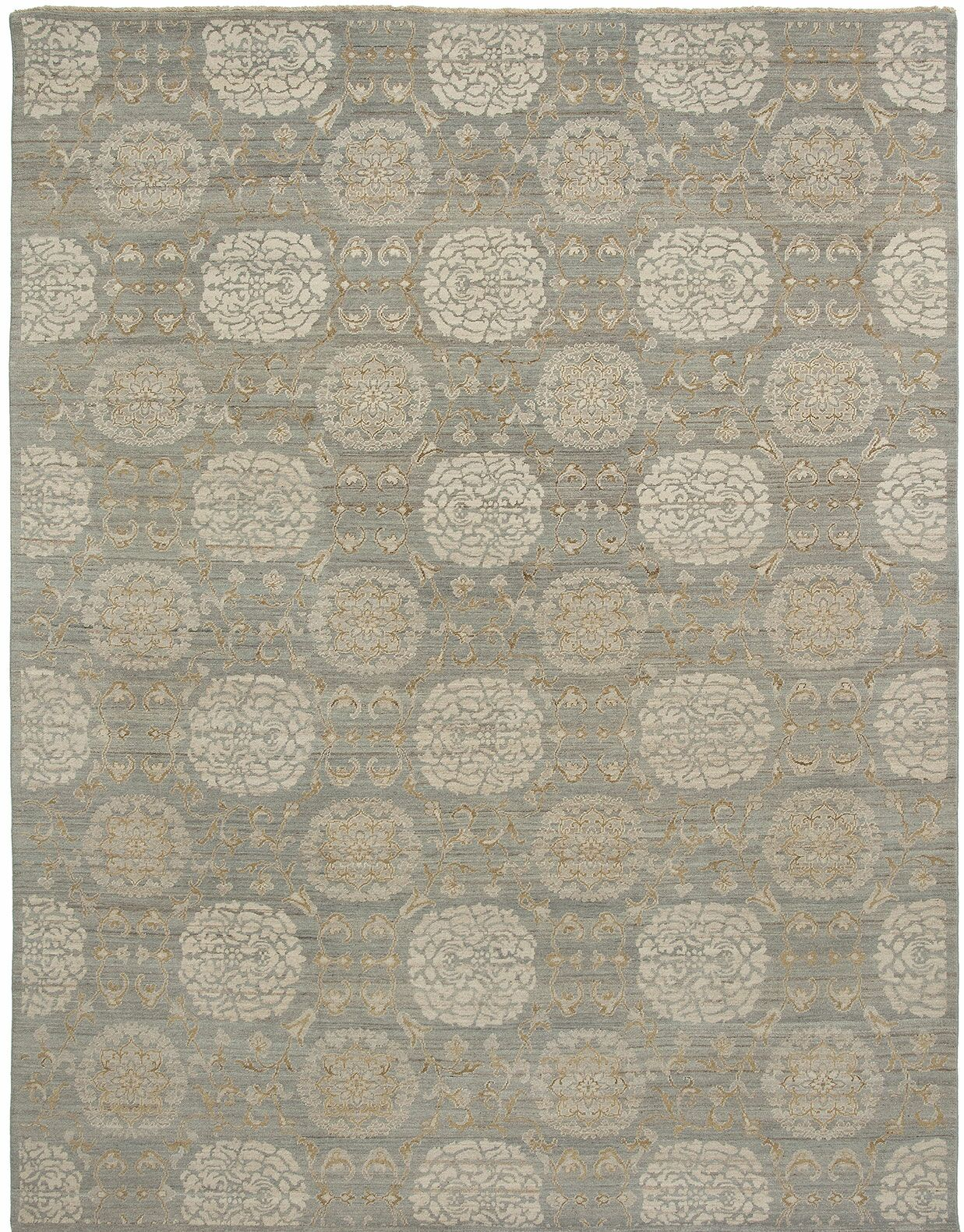 Alara Hand-Knotted Gray Area Rug Rug Size: 10' x 14'