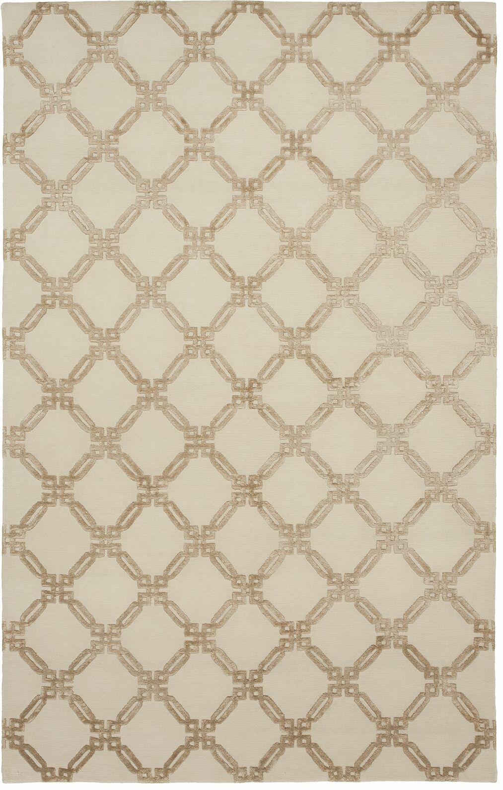 Broadway Hand-Knotted Beige Area Rug Rug Size: 8' x 10'