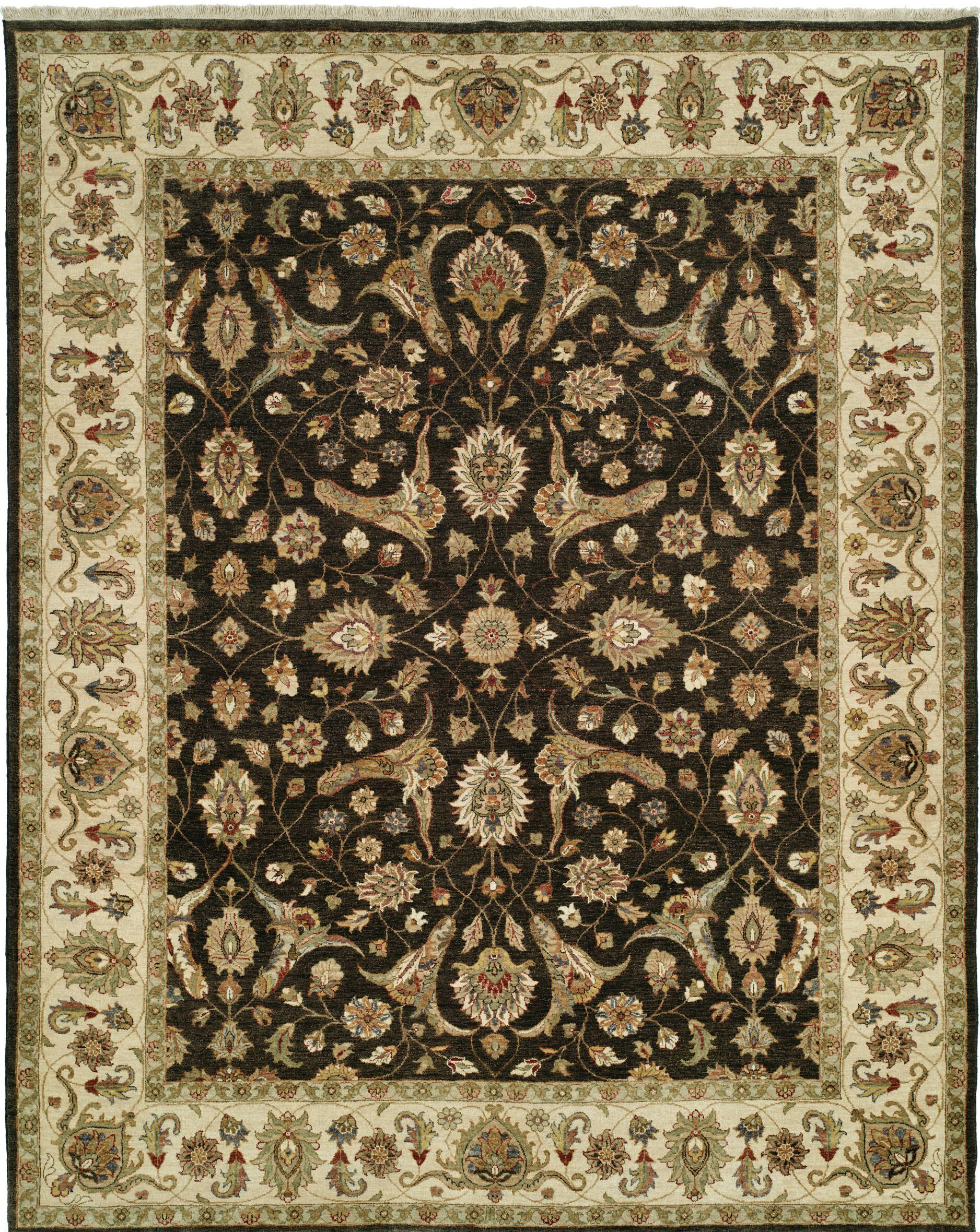 Royal Zeigler Hand-Knotted Beige/Black Area Rug Rug Size: Runner 2'6