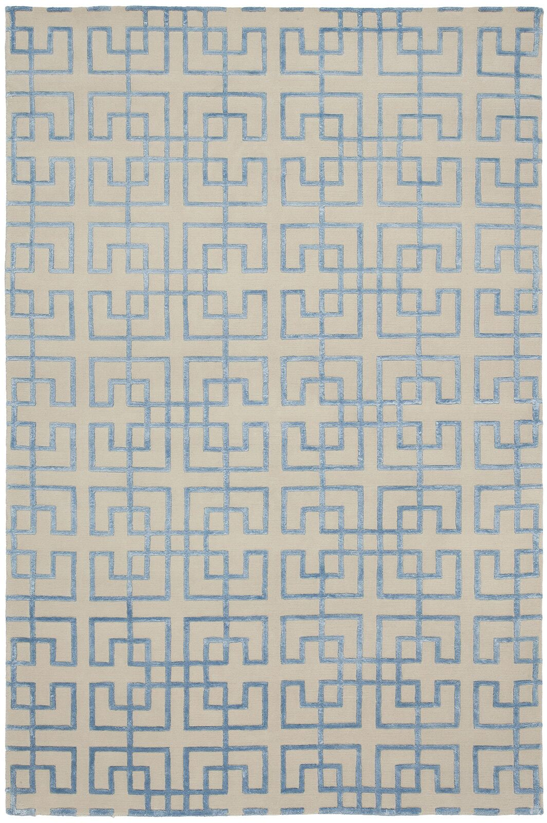 Broadway Hand-Knotted Beige/Blue Area Rug Rug Size: 10' x 14'