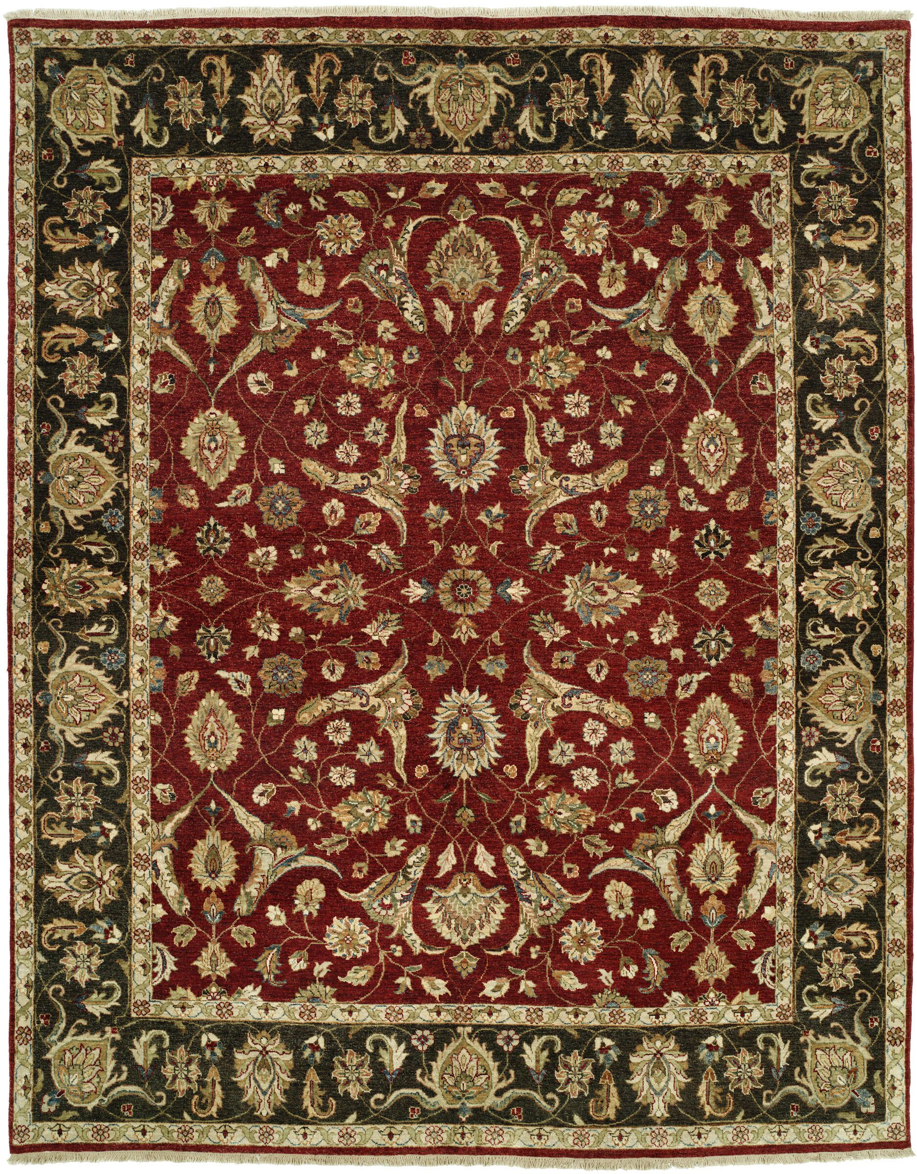 Royal Zeigler Hand-Knotted Black/Red Area Rug Rug Size: 6' x 9'