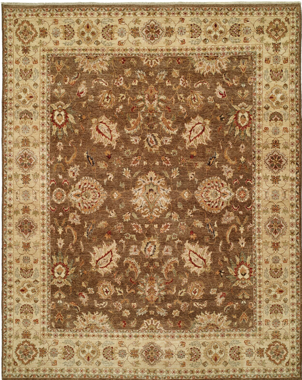 Royal Zeigler Hand-Knotted Brown/Beige Area Rug Rug Size: 8' x 10'