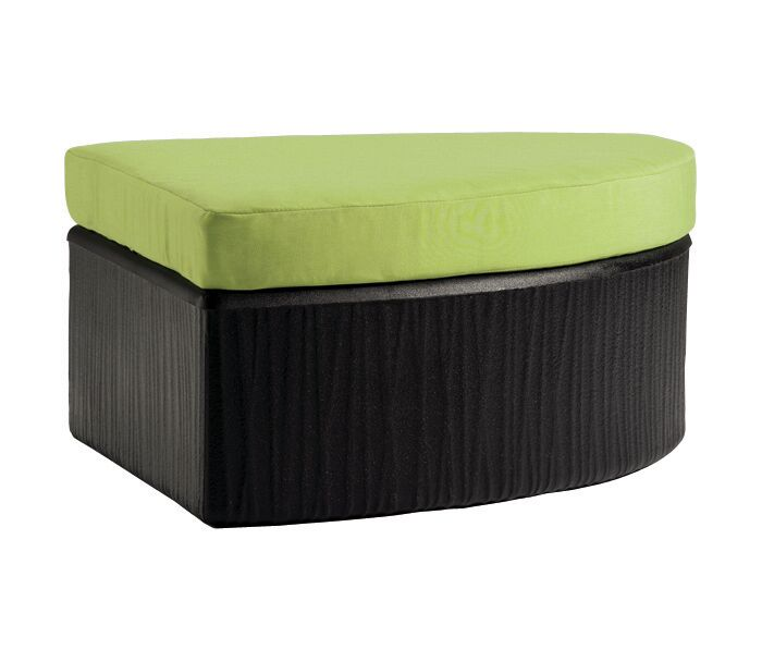 Mobilis Ottoman with Cushion Finish: Mobilis Black, Fabric: Chimayo