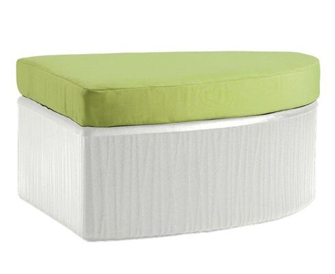Mobilis Ottoman with Cushion Fabric: Cobble Stone, Finish: Mobilis White