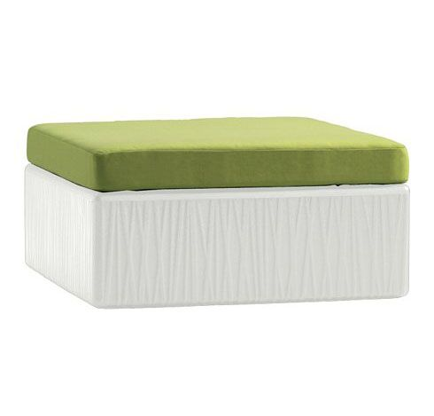 Mobilis Ottoman with Cushion Cushion Color: Cascade, Frame Color: Mobilis White