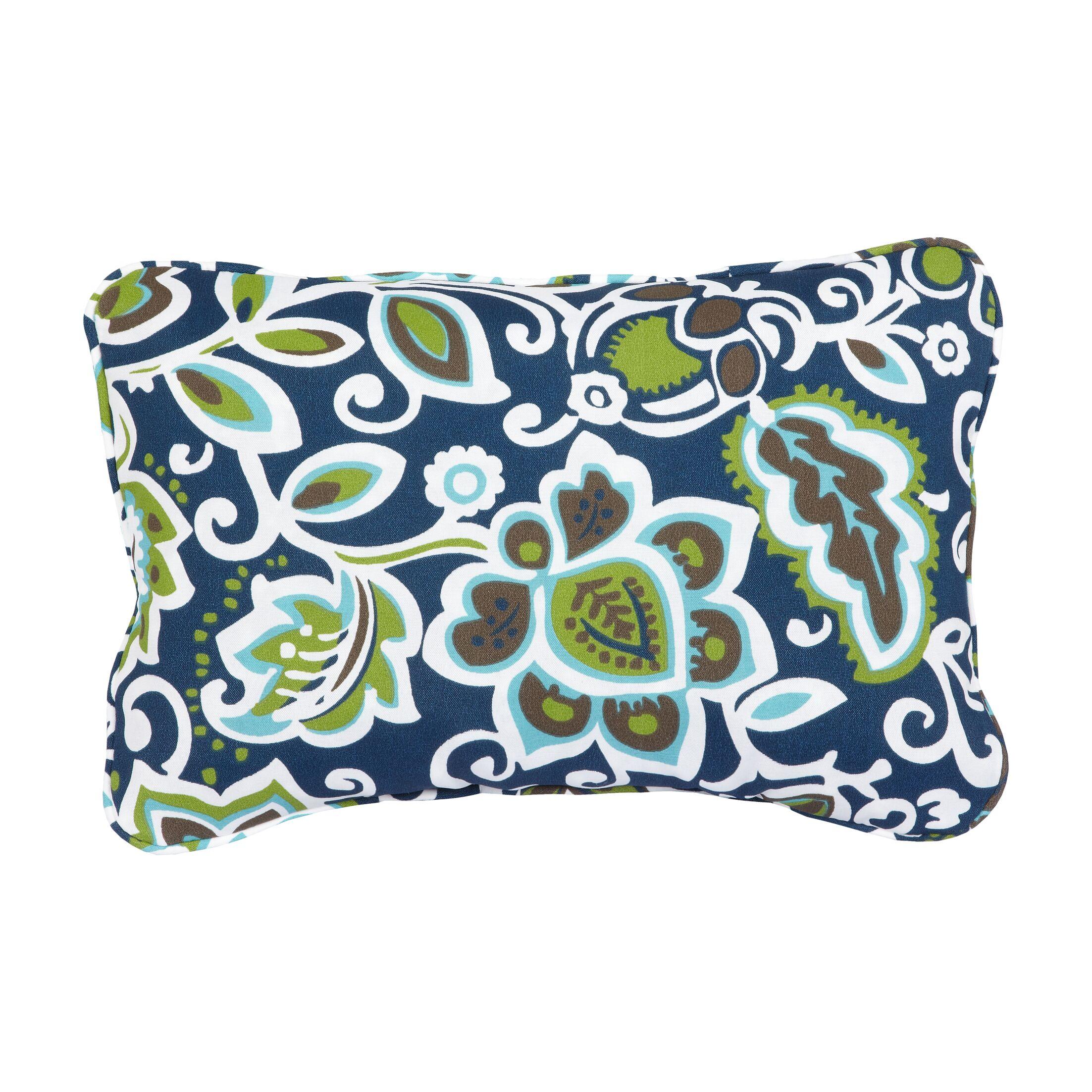 Stella Floral Indoor/Outdoor Lumbar Pillow Color: Navy