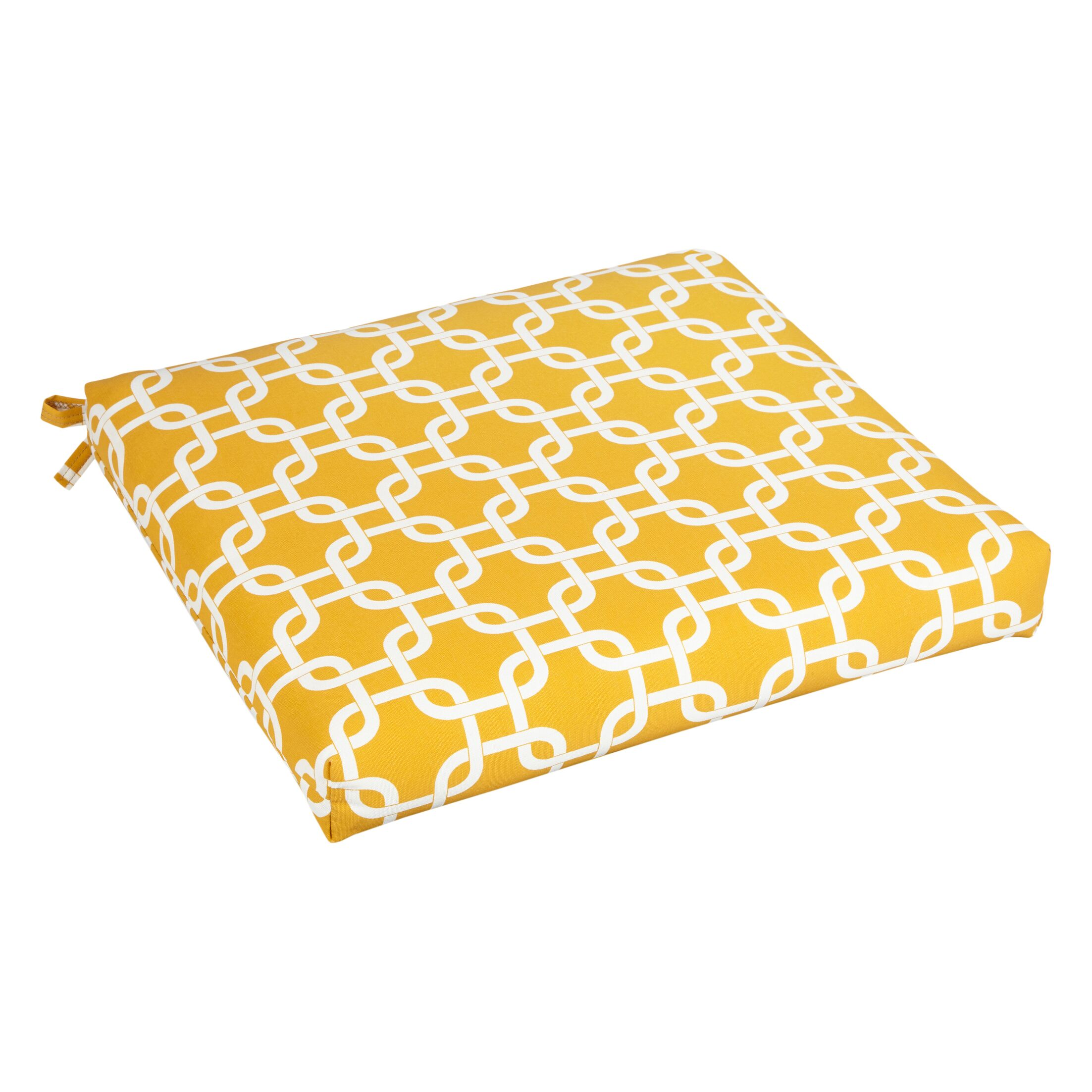 Bree Indoor/Outdoor Dining Chair Cushion Fabric: Knotted Yellow, Size: 20