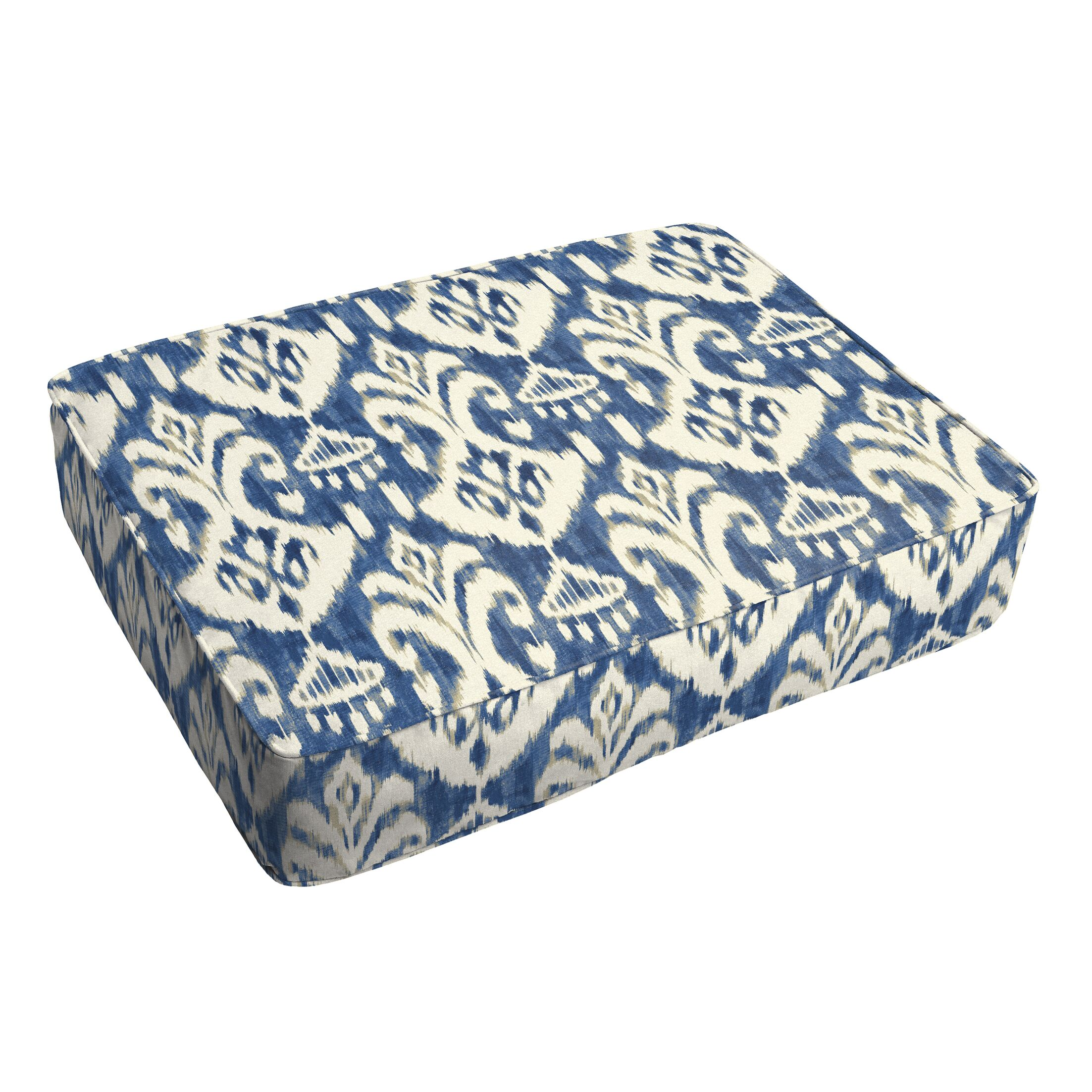 Peabody Ikat Piped Indoor/Outdoor Ottoman Cushion Fabric: Indigo/White