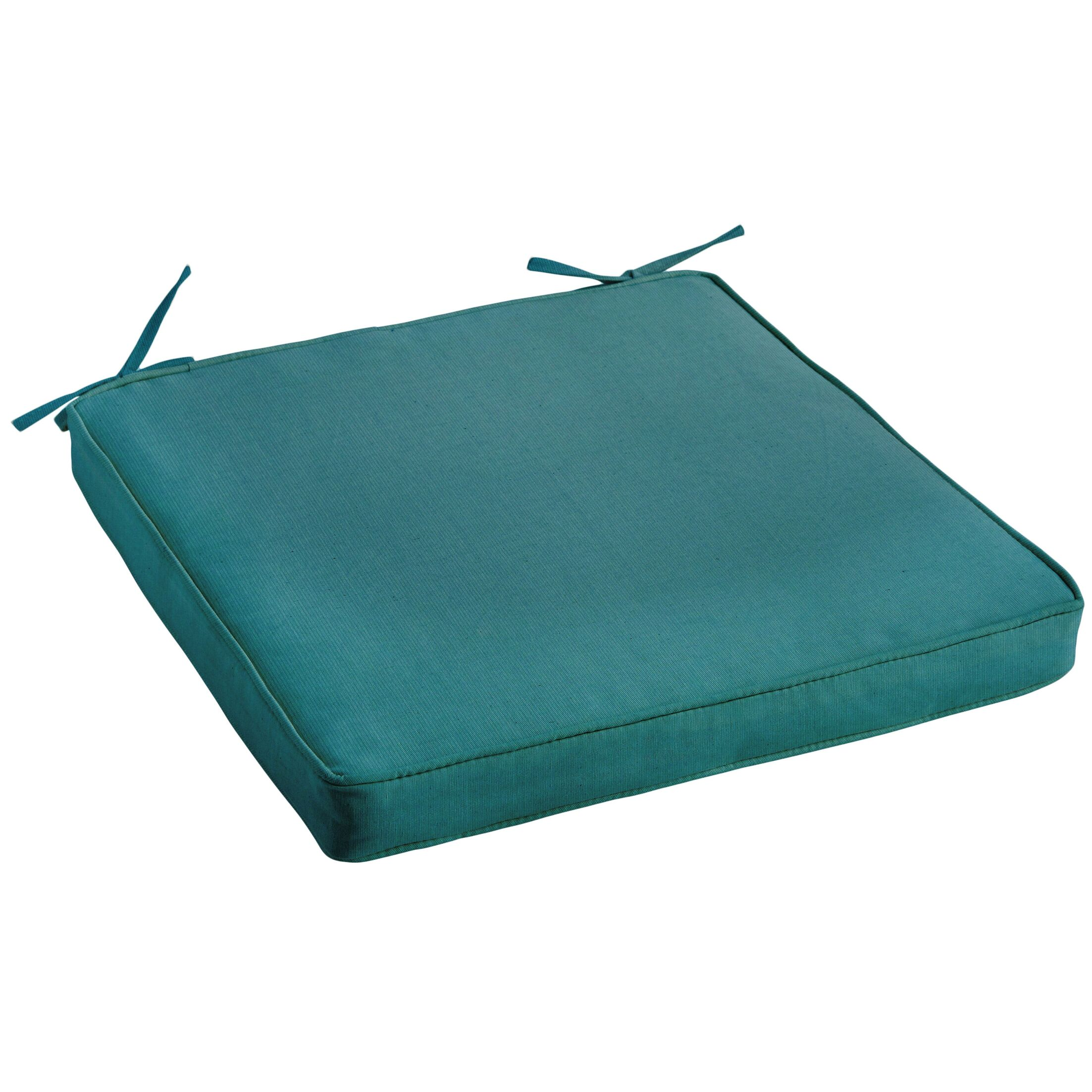 Sunbrella Aruba Blue Chair Cushion, Corded Color: Peacock
