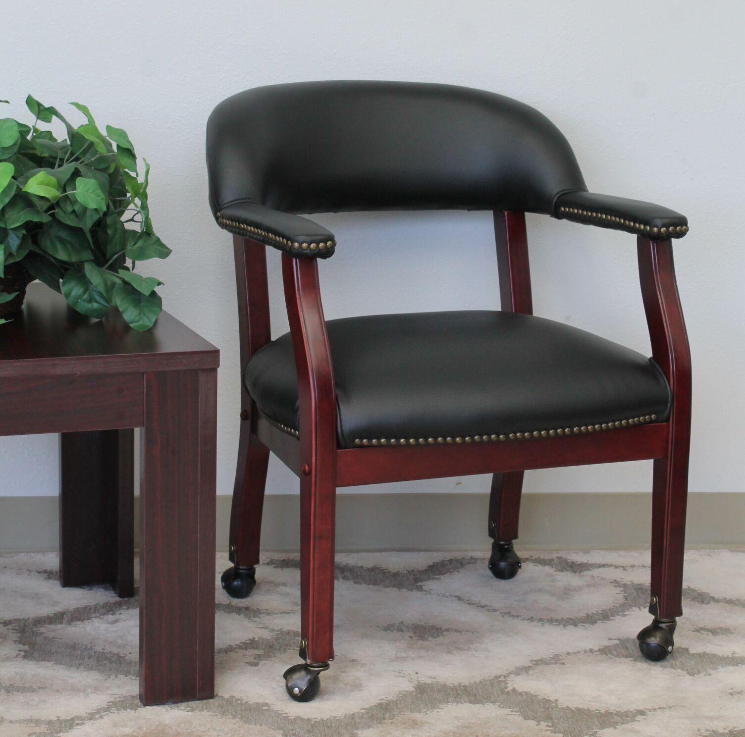 Pershore Vinyl Guest Chair Color: Black, Casters: No