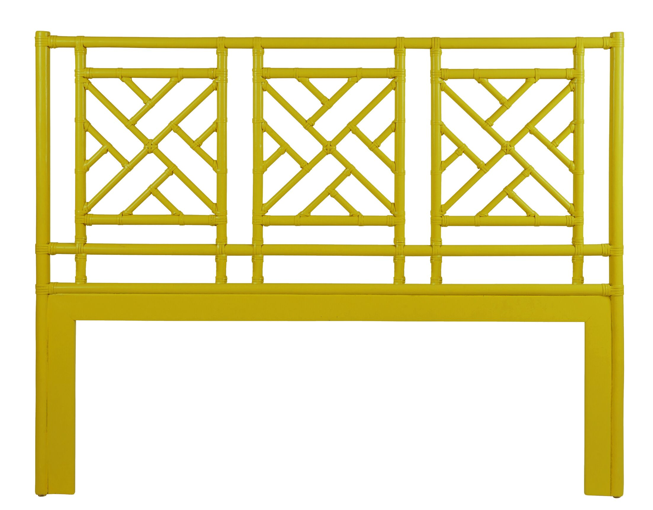 Chinese Chippendale Open-Frame Headboard Size: Twin, Color: Canary Yellow