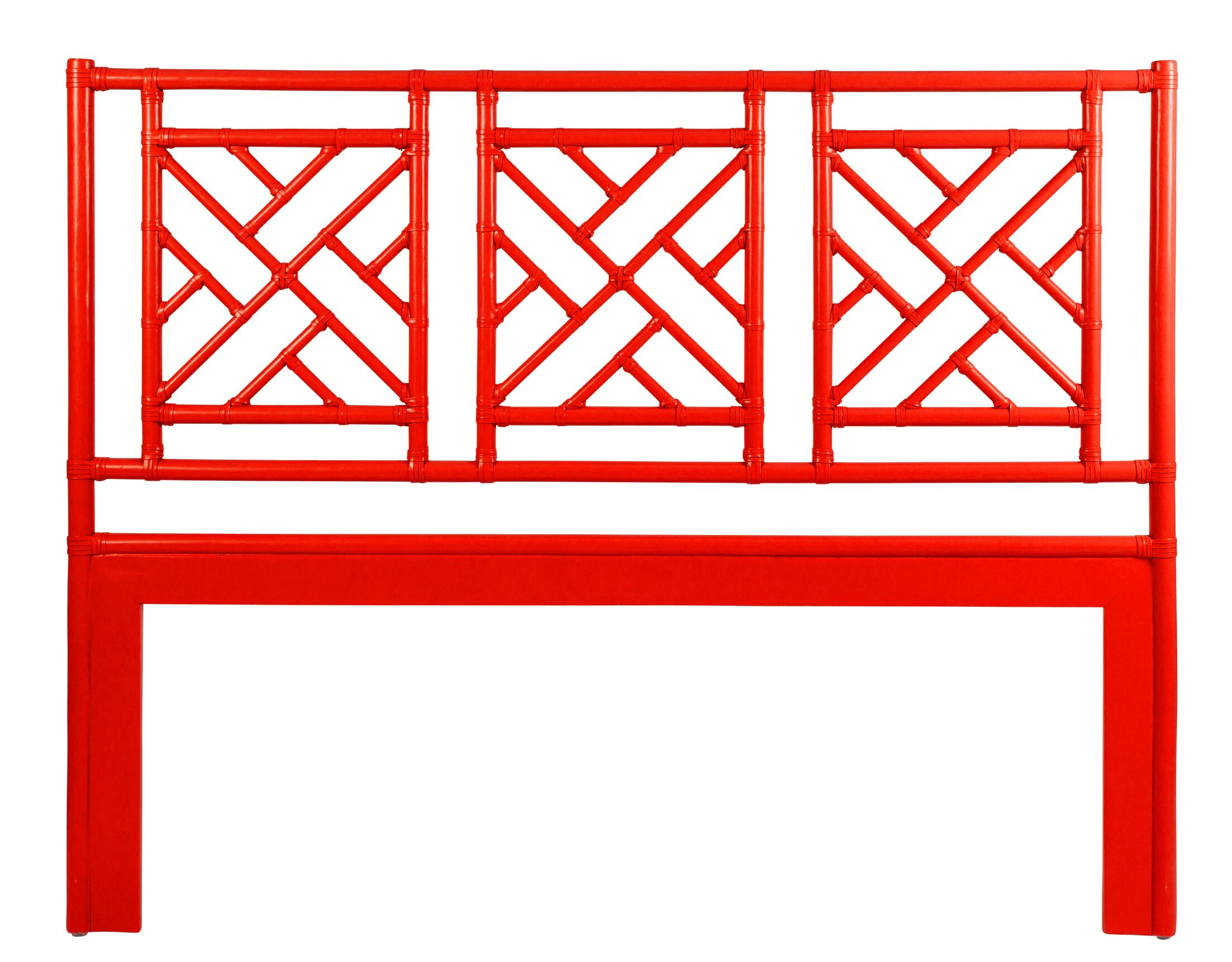 Chinese Chippendale Open-Frame Headboard Size: Queen, Color: Red Hot