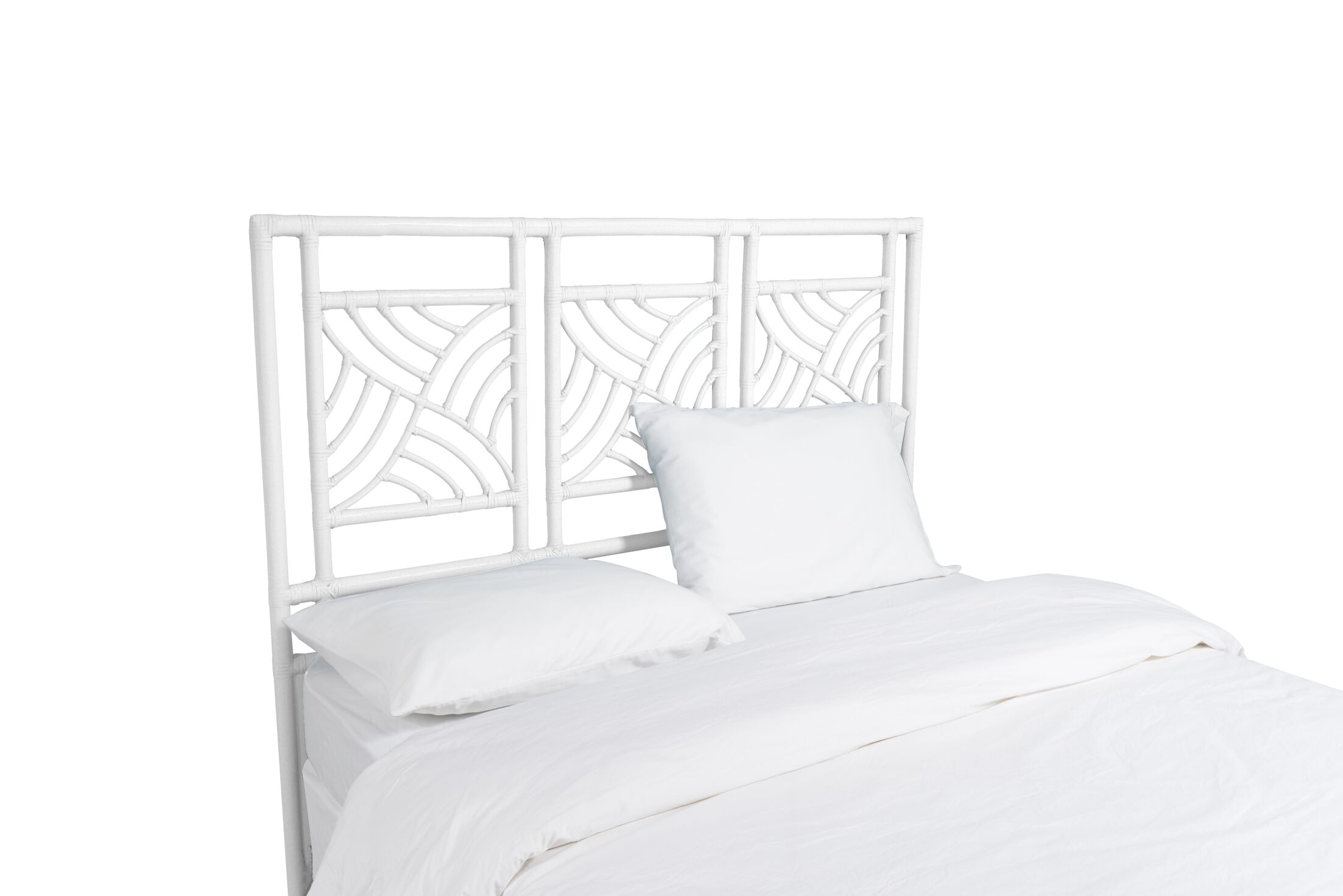 Whirlwind Open-Frame Headboard Color: Bright White, Size: Twin