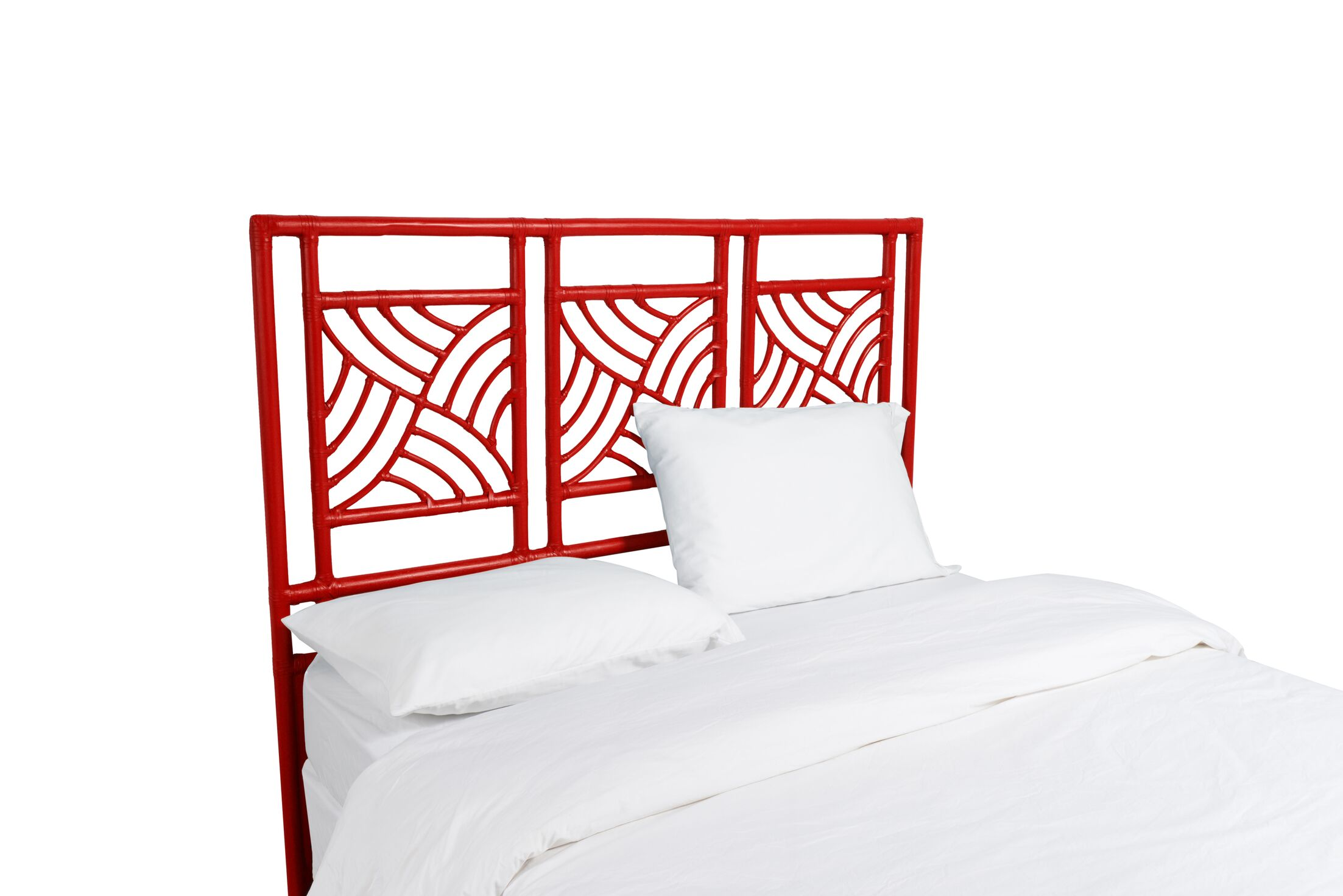 Whirlwind Open-Frame Headboard Color: Fire Red, Size: Queen
