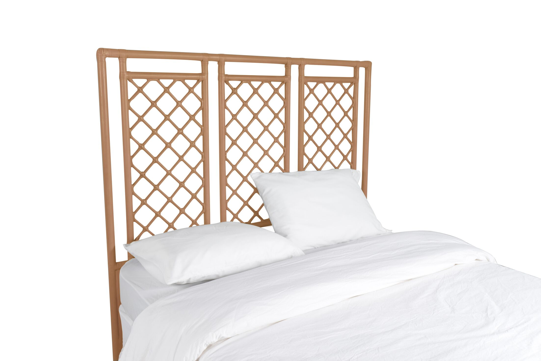 X and Diamond Open-Frame Headboard Color: Camel Brown, Size: Twin