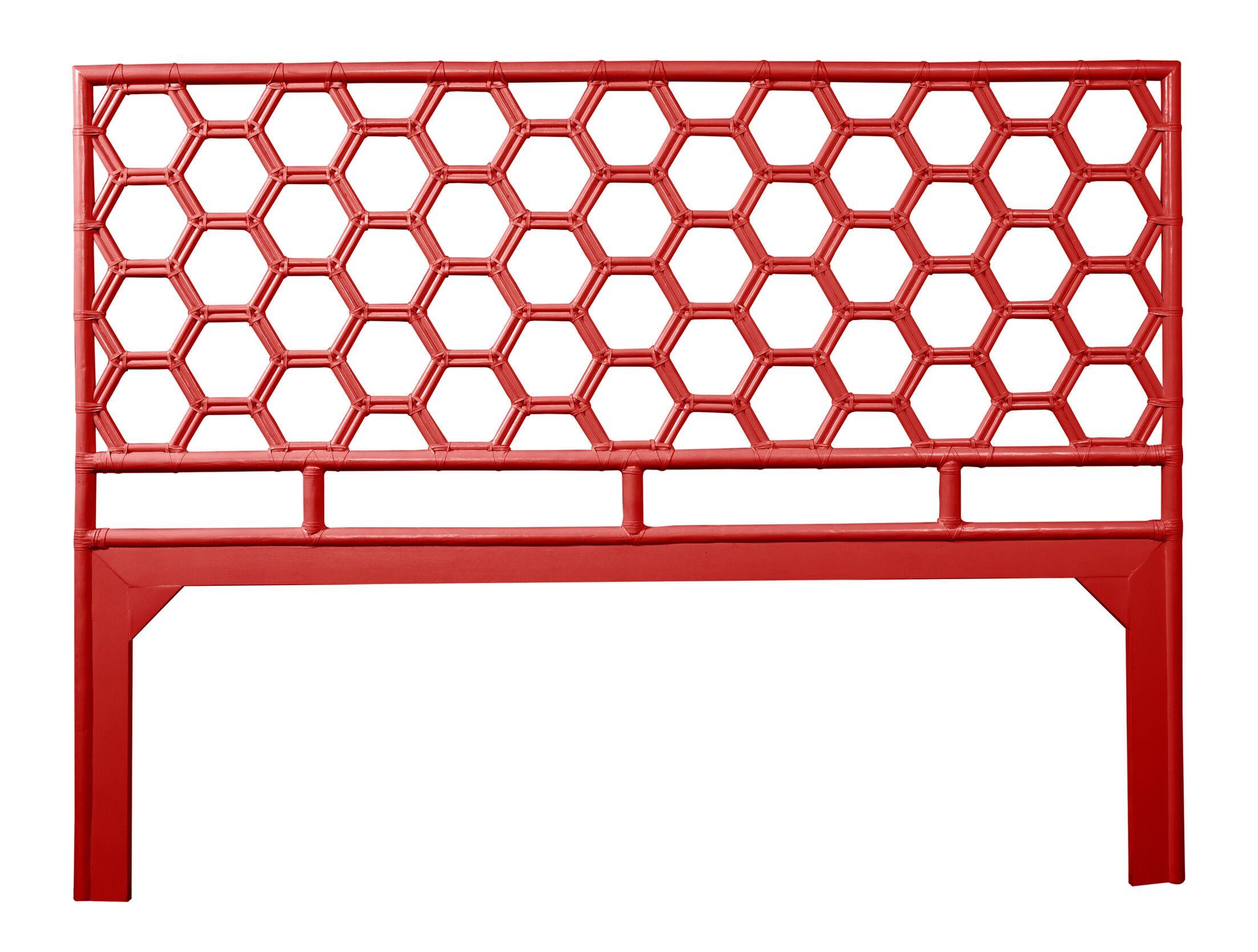 Honeycomb Open-Frame Headboard Color: Fire Red, Size: Queen