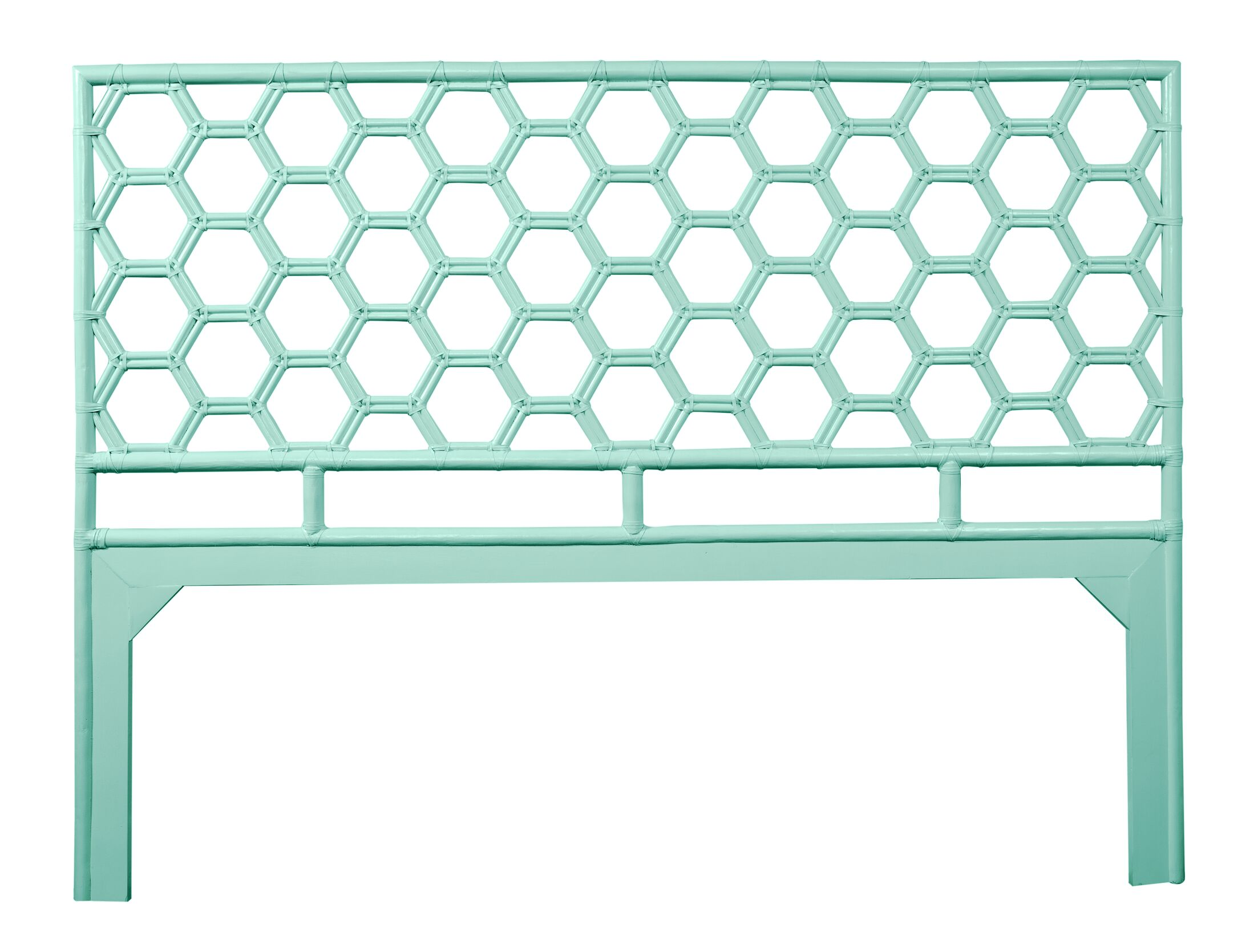 Honeycomb Open-Frame Headboard Color: Turquoise, Size: Twin