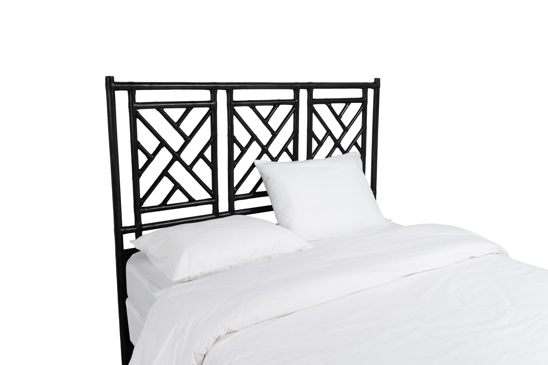 Chinese Chippendale Open-Frame Headboard Size: King, Color: Black