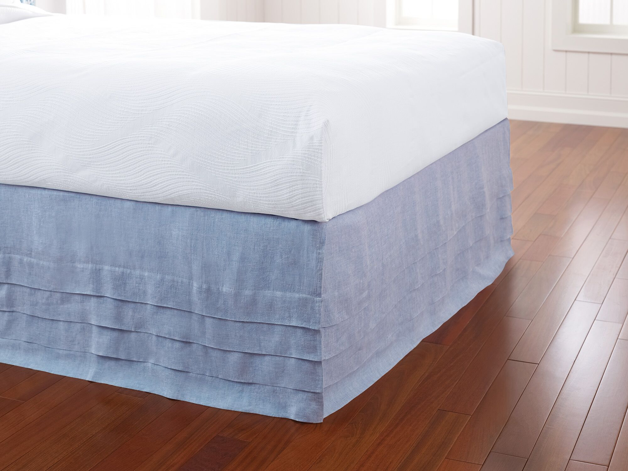Waterfall Panel Bed Skirt Color: Capri Blue, Size: Twin