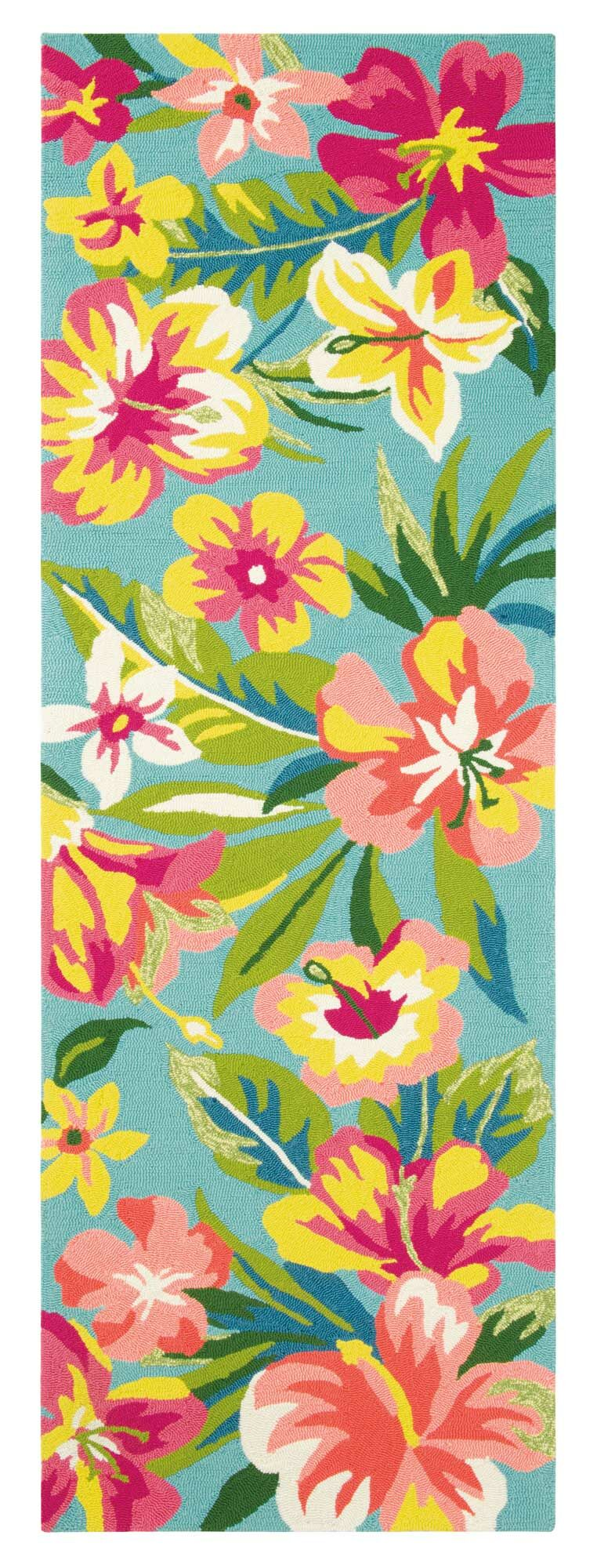 Mai Tai Hand-Hooked Green/Pink Area Rug Rug Size: Runner 2'6