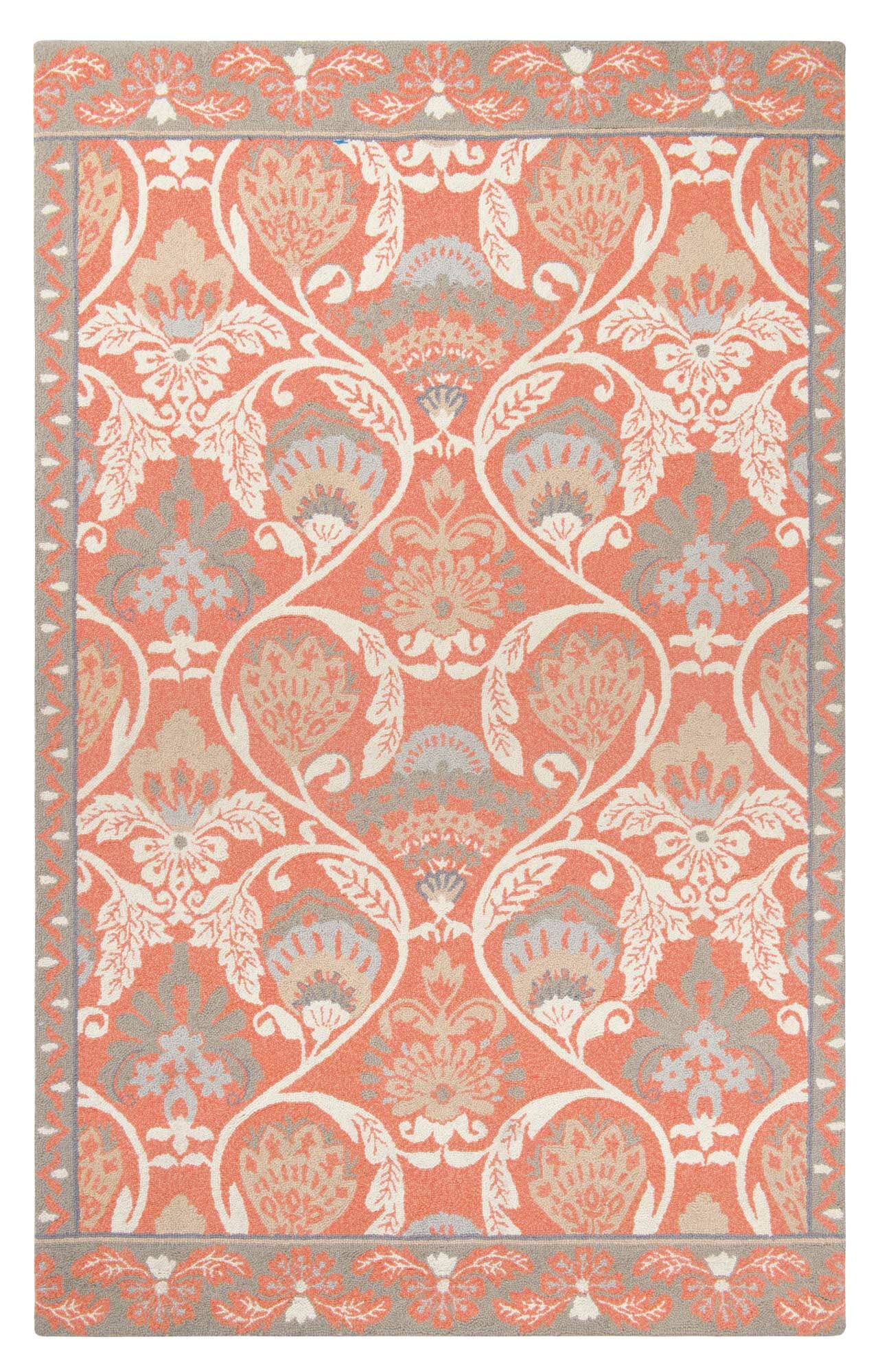 Quinn Hand-Hooked Coral Area Rug Rug Size: Rectangle 5' x 8'