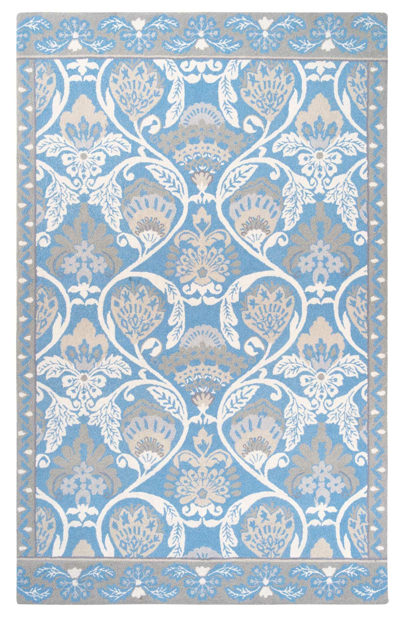 Quinn Hand-Hooked Blue Area Rug Rug Size: Rectangle 4' x 6'