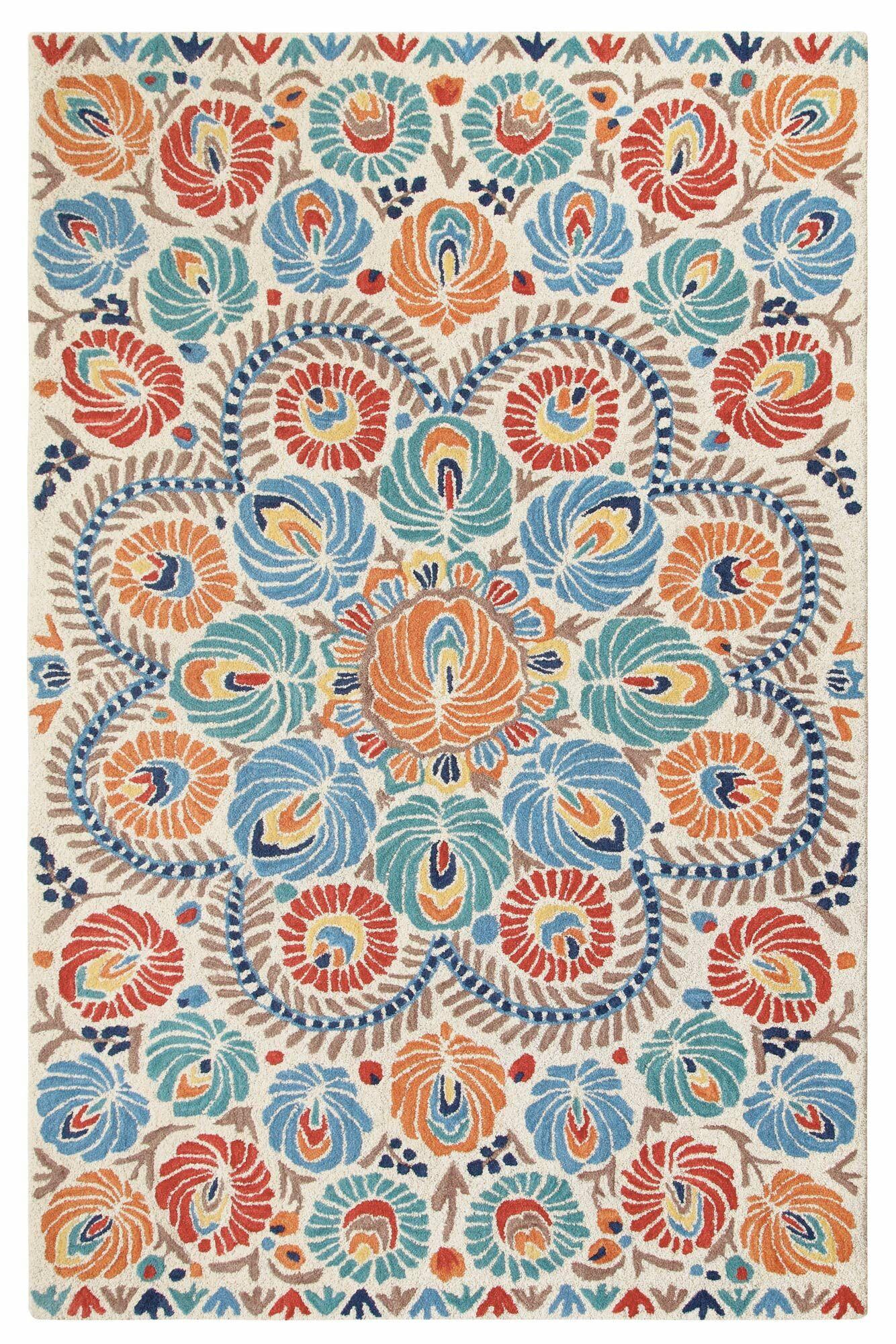 Matyo Hand Tufted Wool Cream/Blue Area Rug Rug Size: 5' x 8'