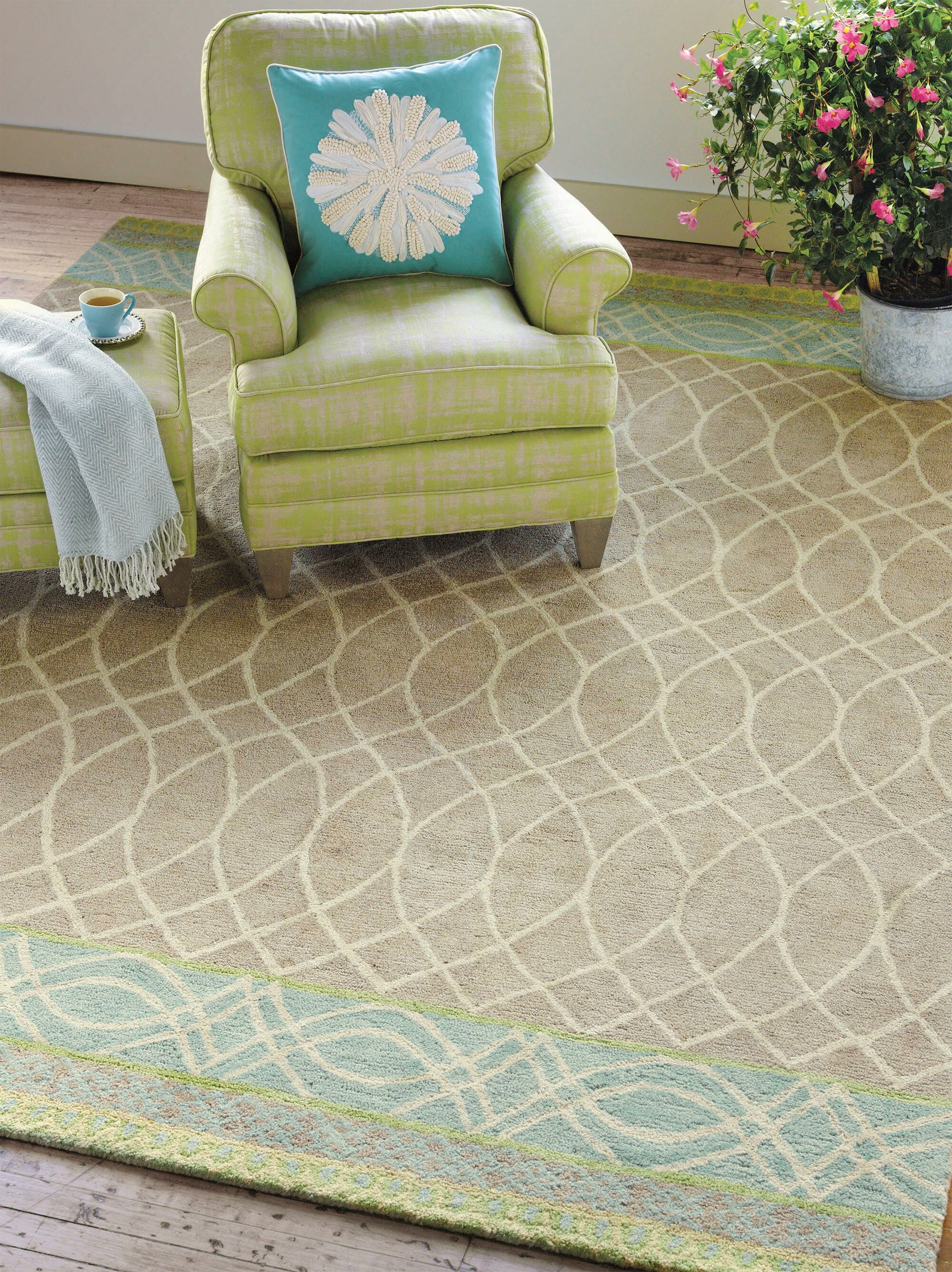 Lattice Swirl Hand Tufted Aqua/Brown Area Rug Rug Size: 9' x 13'