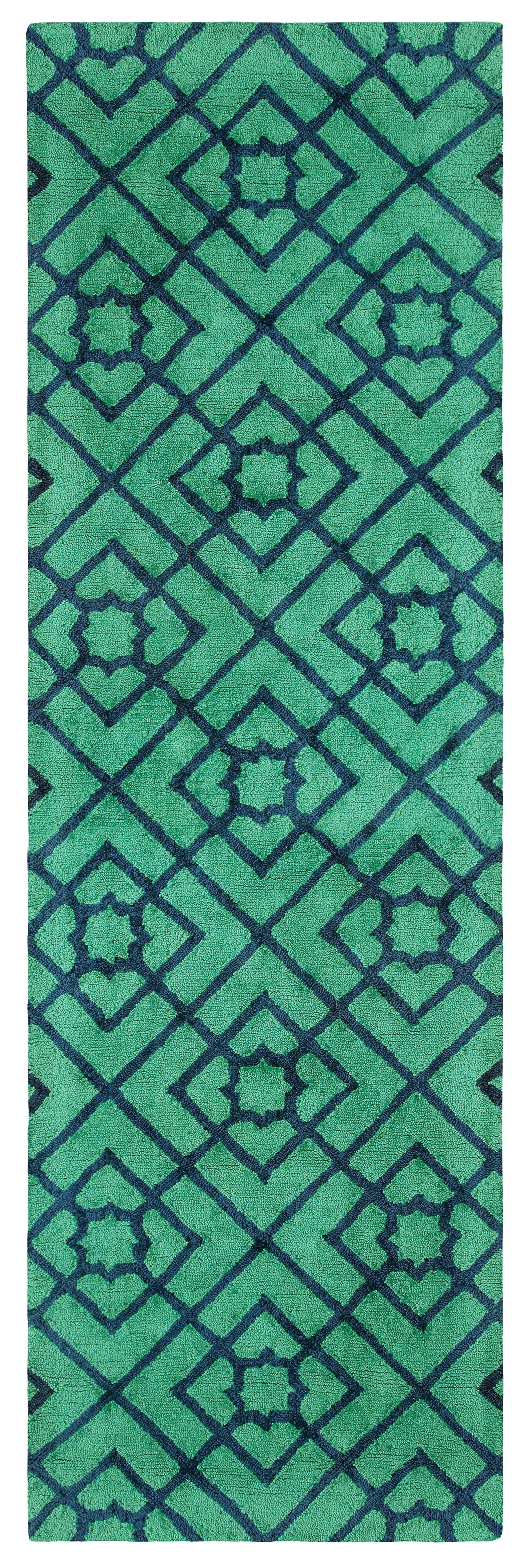 Diamond Lattice Hand-Tufted Green/Blue Area Rug Rug Size: Runner 2'6