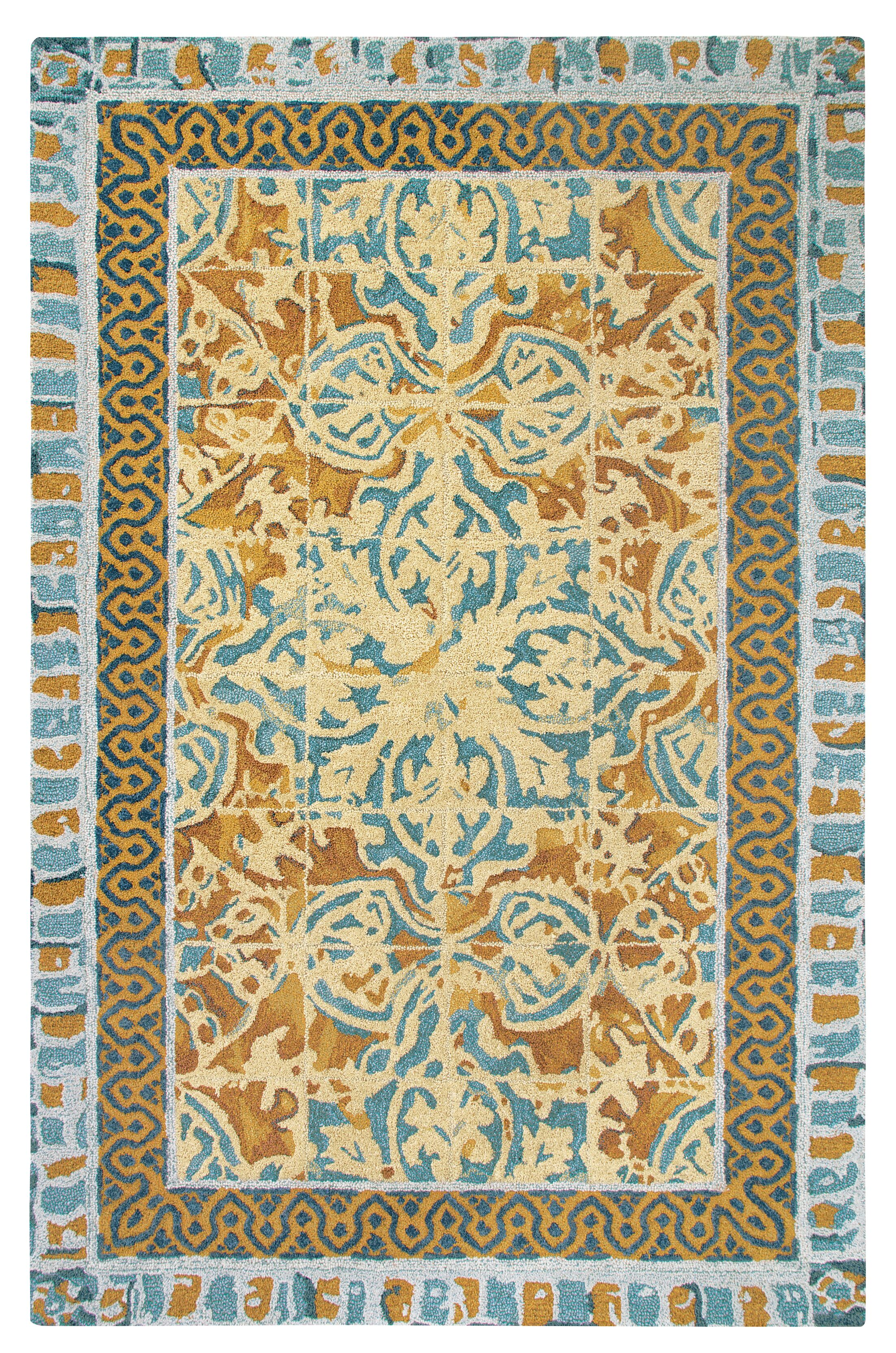 Tuscan Tile Hand-Tufted Blue/Beige Area Rug Rug Size: Rectangle 9' x 13'