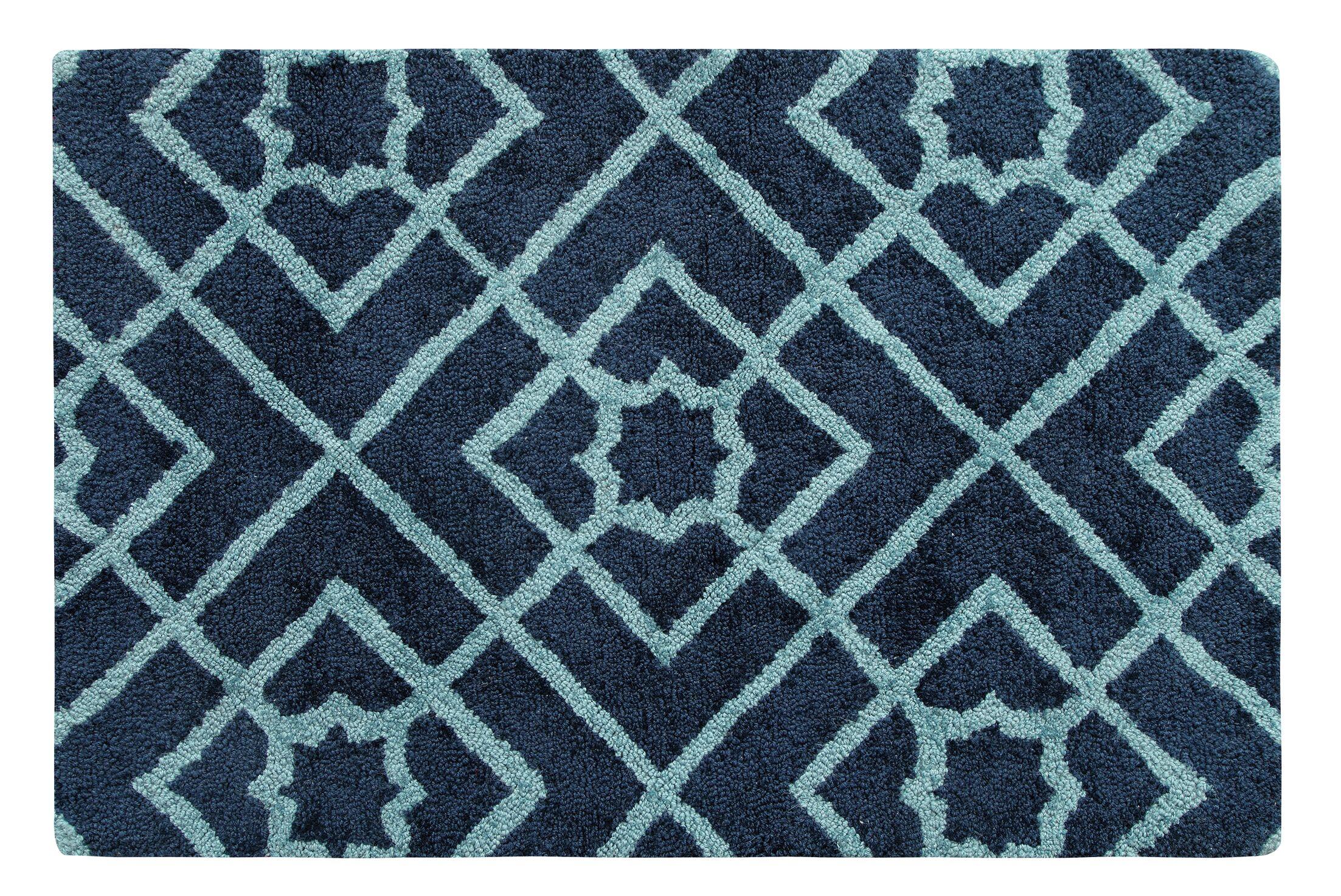 Diamond Lattice Hand-Tufted Navy Area Rug Rug Size: Rectangle 2' x 3'