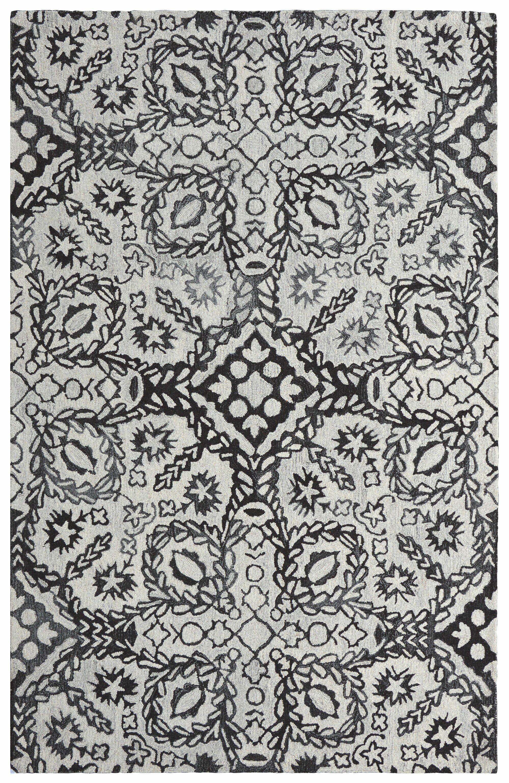Wood Block Hand-Tufted Wool/Silk Black Area Rug Size: Runner 2'3