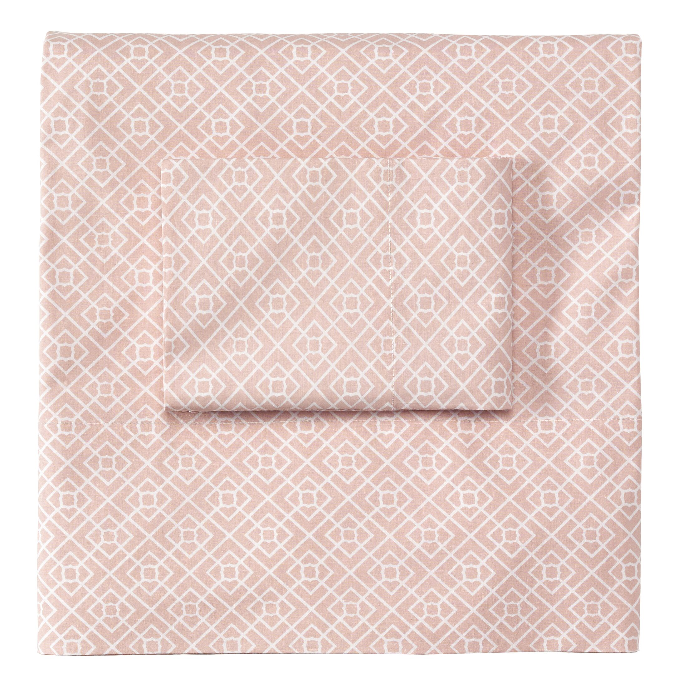 Diamond Lattice Sheet Set Color: Blush, Size: Queen