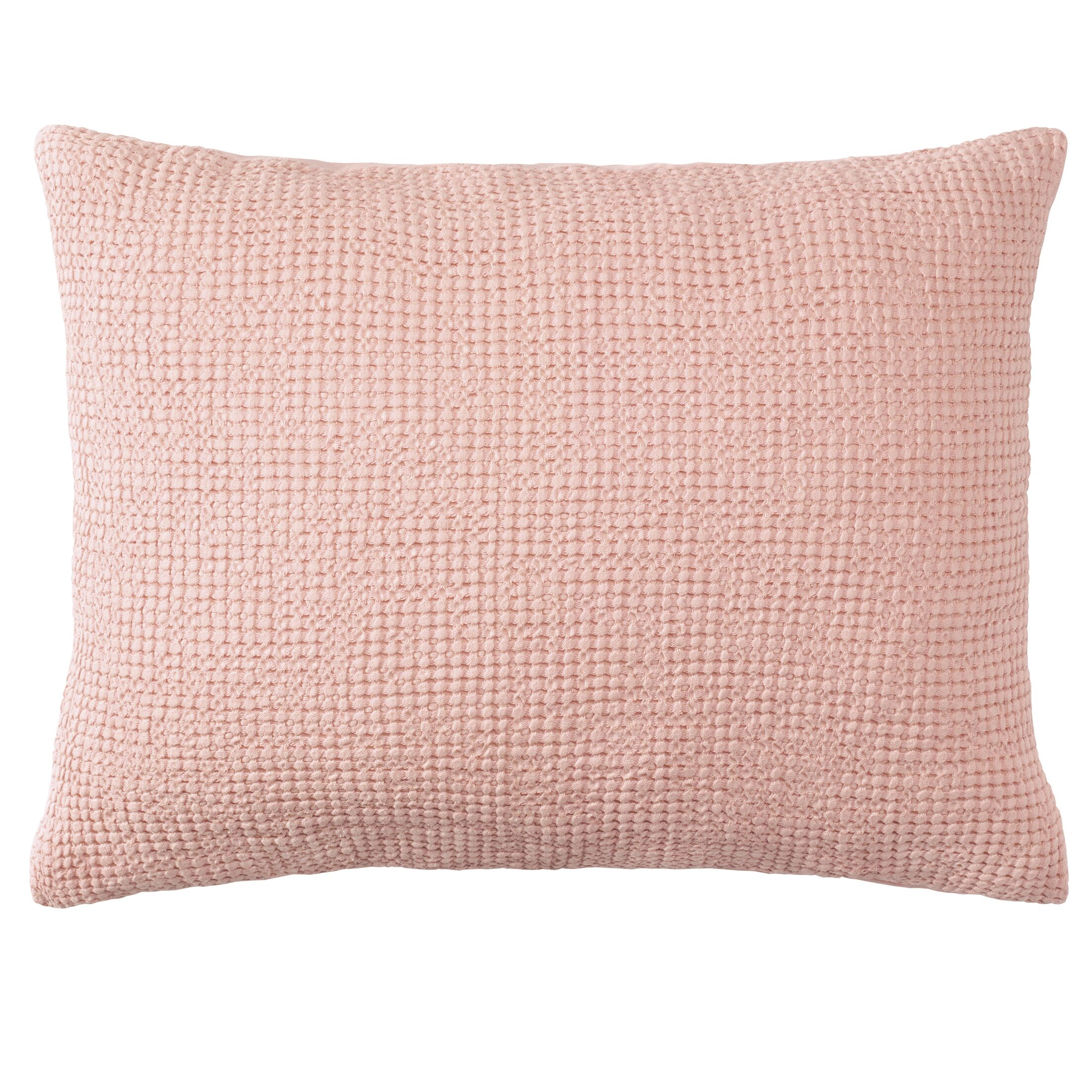 Waffle Weave Matelass� Quilted Sham Color: Blush, Size: Euro