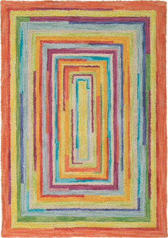Concentric Orange/Green Area Rug Rug Size: Rectangle 5' x 8'