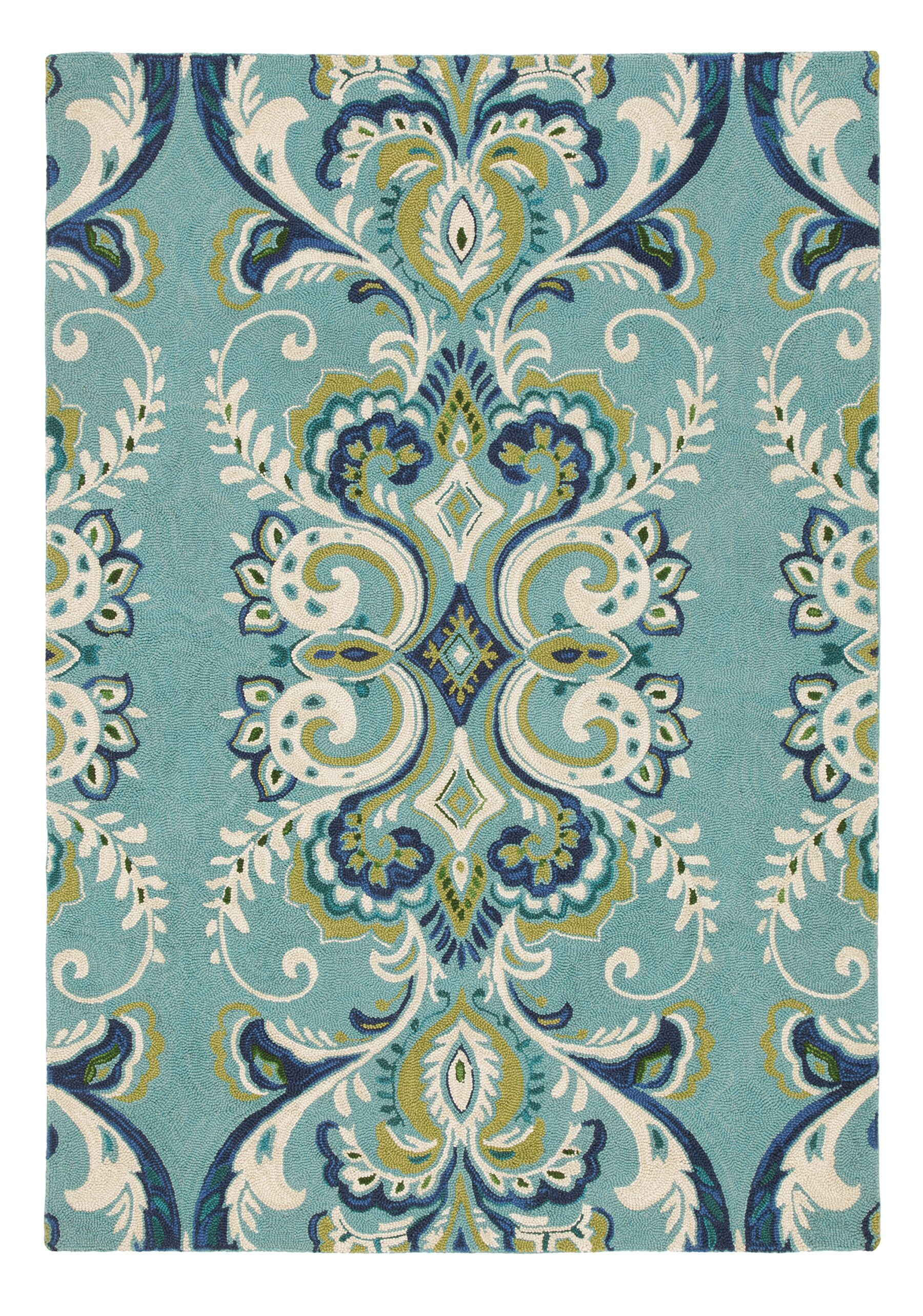 Adele Hand-Hooked Wool Lake Area Rug Rug Size: Rectangle 5' x 8'