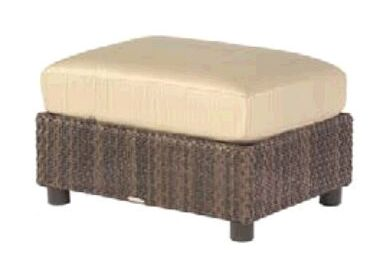 Aruba Ottoman with Cushion Fabric: Sunbrella Sailcloth Sienna
