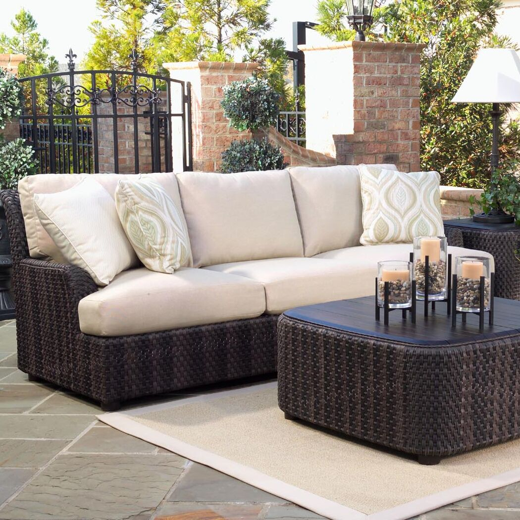 Aruba Patio Sofa with Cushions Fabric: Sunbrella Sailcloth Sahara
