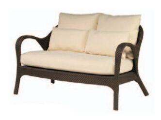 Bali Loveseat with Cushions Fabric: Canvas Heather Beige