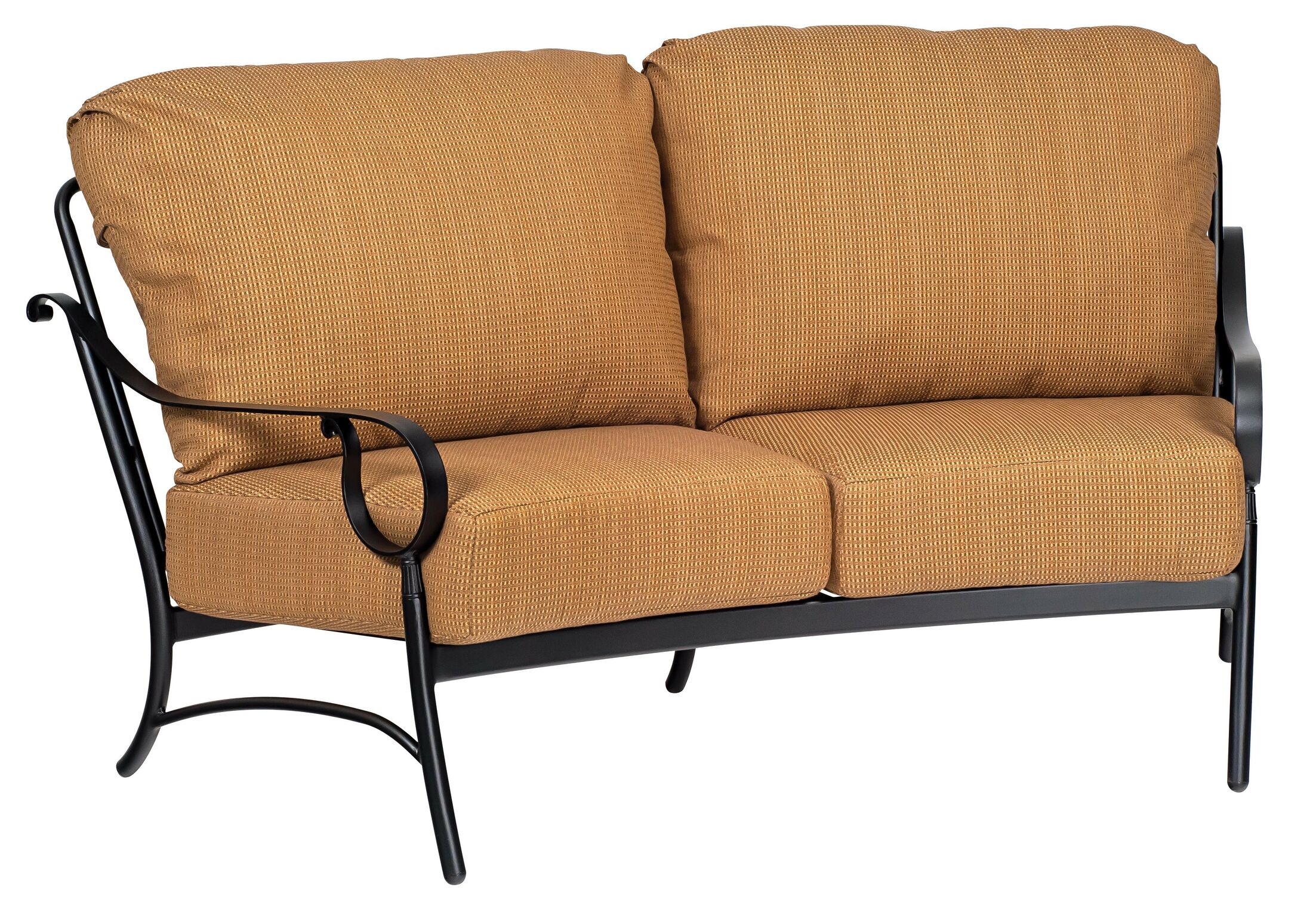 Ridgecrest Crescent Loveseat with Cushions Frame Color: Espresso, Cushion Color: Axel Smoke