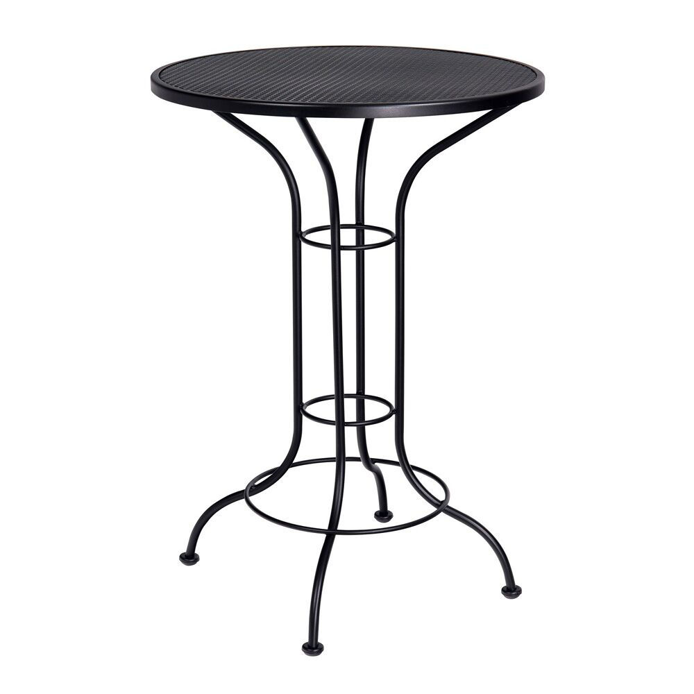 Bar Height Outdoor Round Mesh Top Wrought Iron Bar Table Bar Table Finish: Espresso