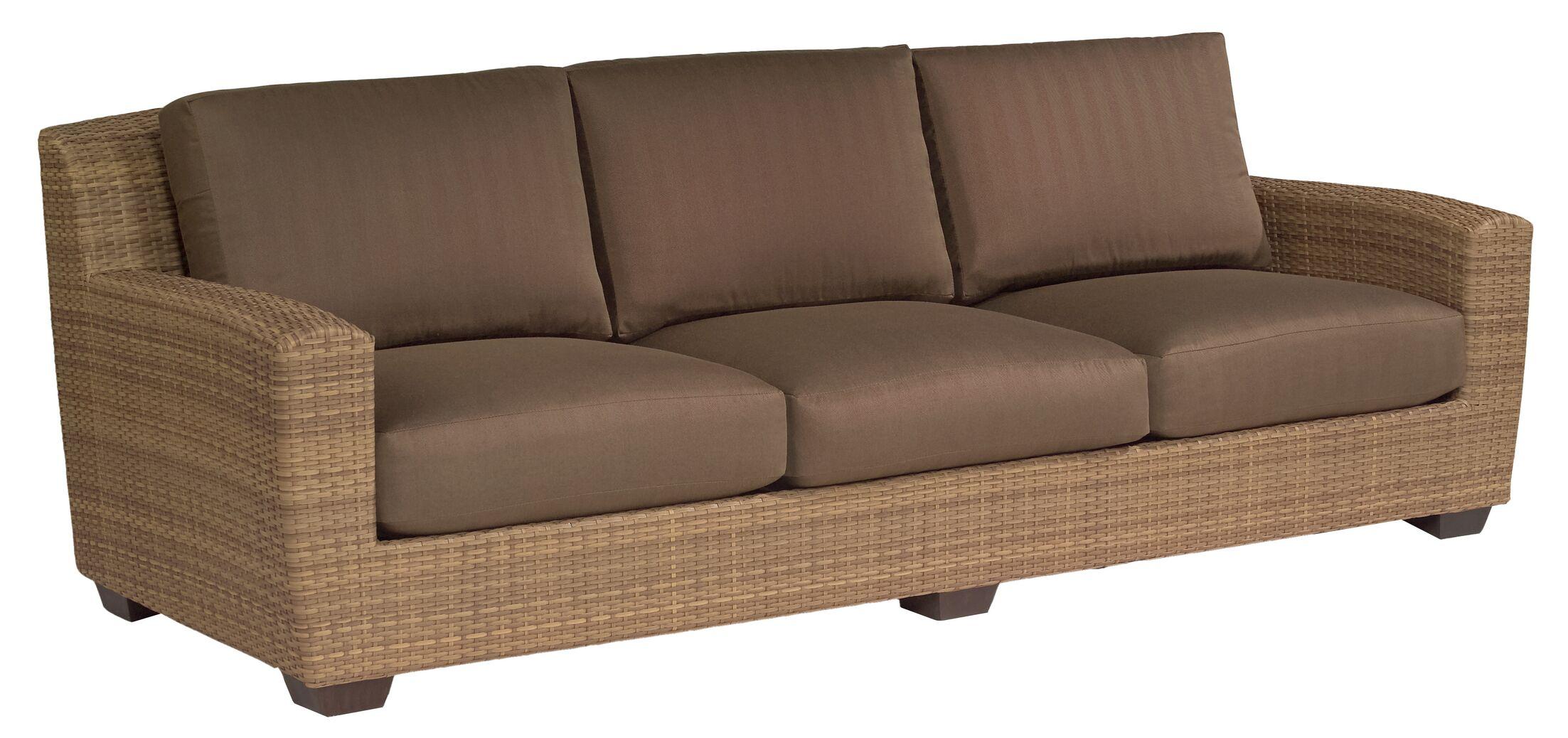 Saddleback Patio Sofa with Cushions Fabric: Avila Cocoa Weather Tex