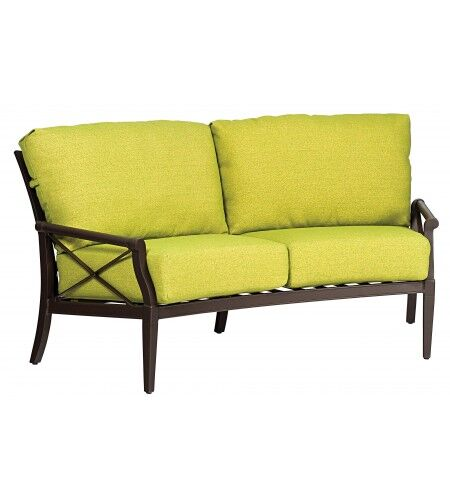 Andover Crescent Loveseat with Cushions Fabric: Paris Honeydew