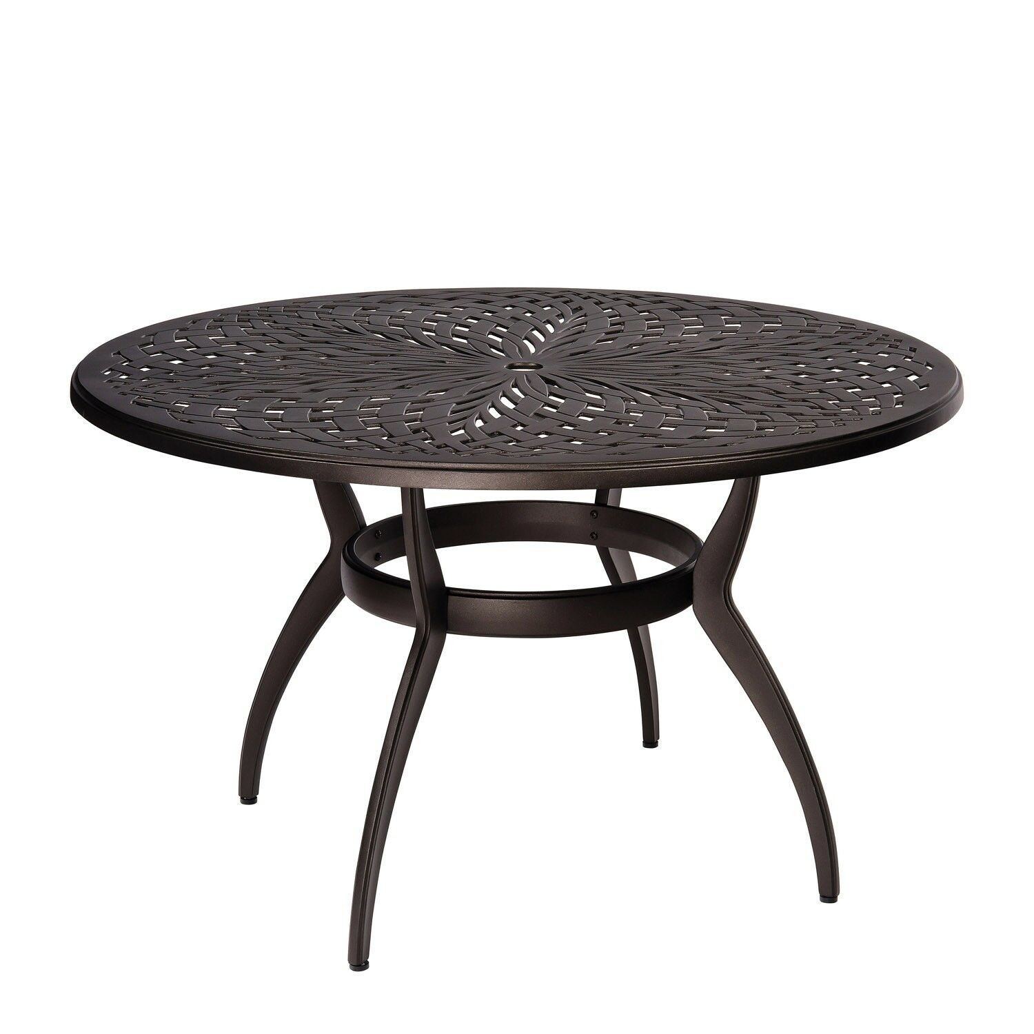 Apollo Round Umbrella Dining Table Frame Color: Pewter Finish