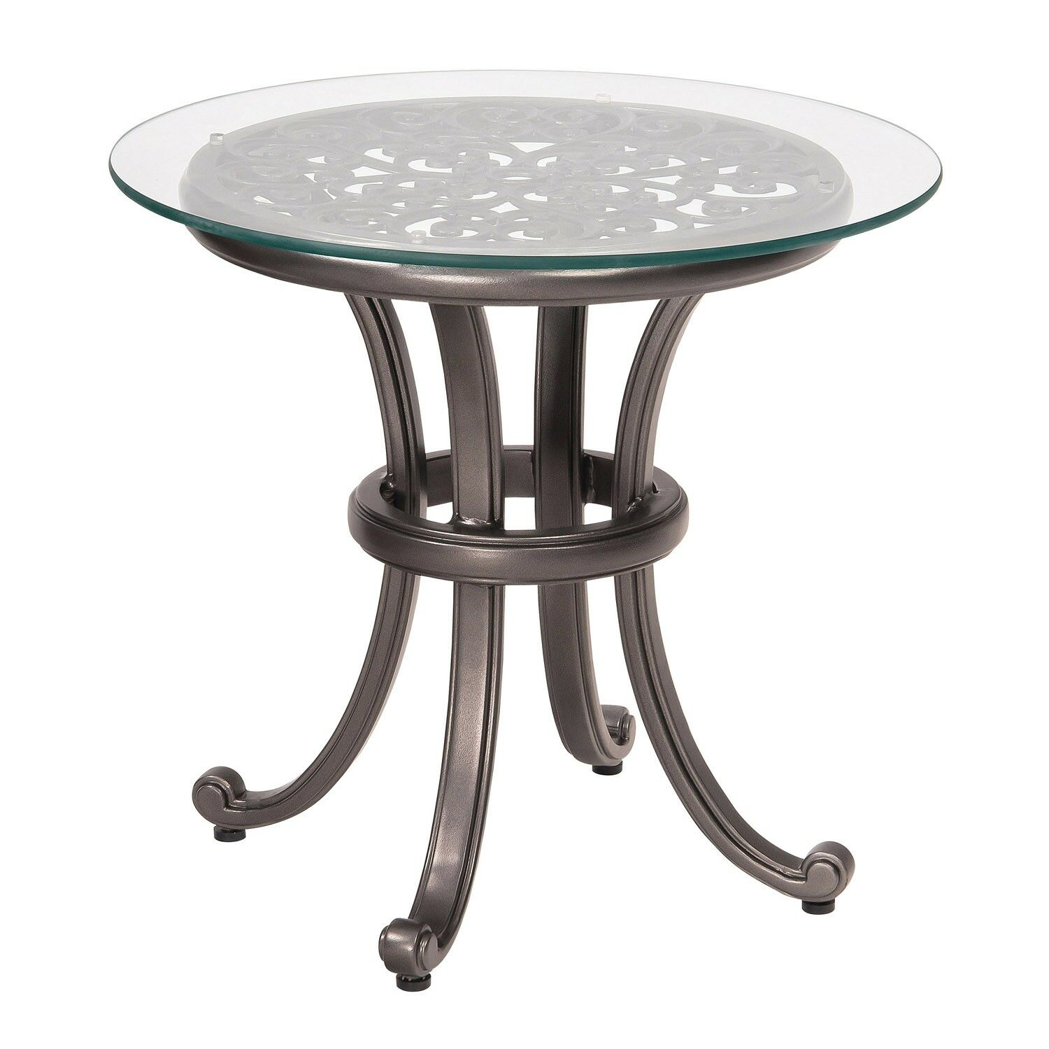 New Orleans Side Table with Glass Top (Set of 2) Frame Color: Chestnut Brown