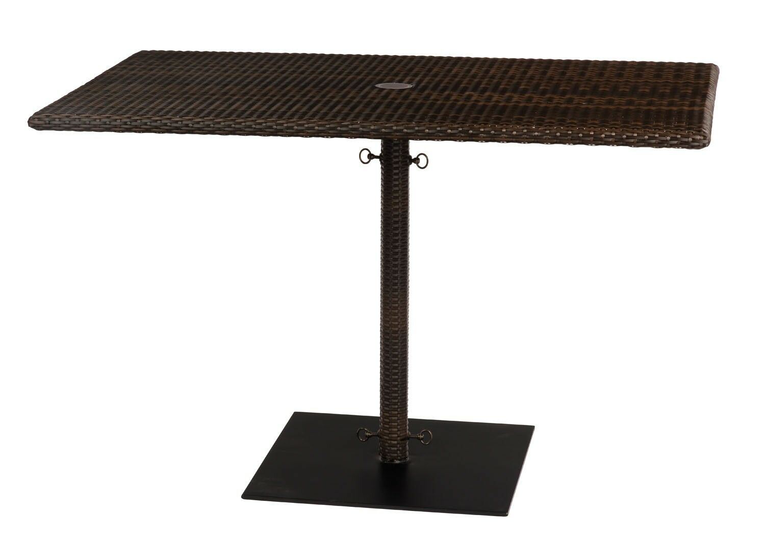 All-Weather Rectangular Umbrella Dining Table with Weighted Base