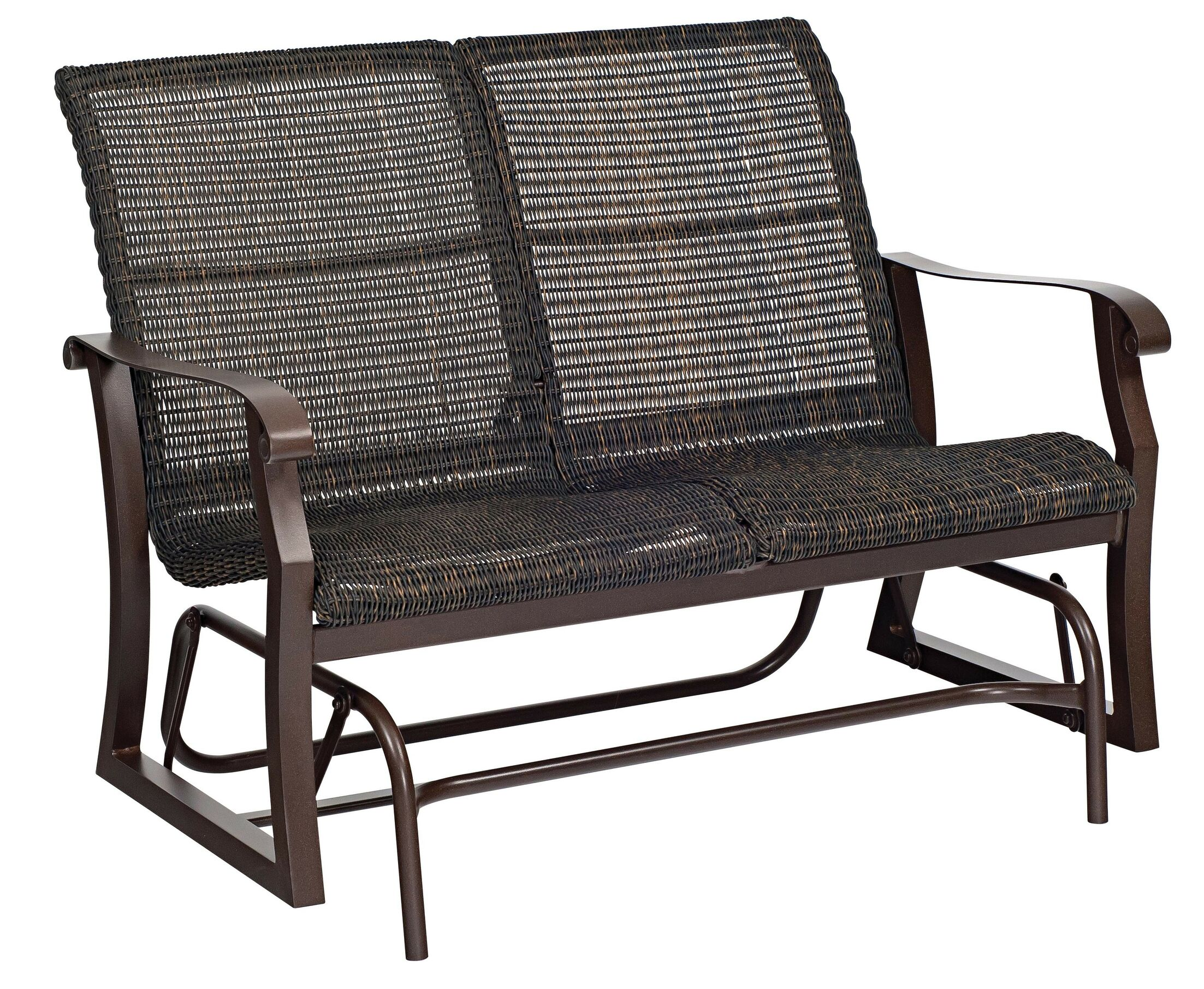 Cortland Woven Glider Loveseat Frame Color: Chestnut Brown